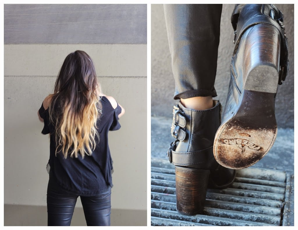 Fashion blogger Mash Elle shares her favorite Paige Jeans and Freebird Bolo Boots | leather boots | balayage hair | all black outfit |