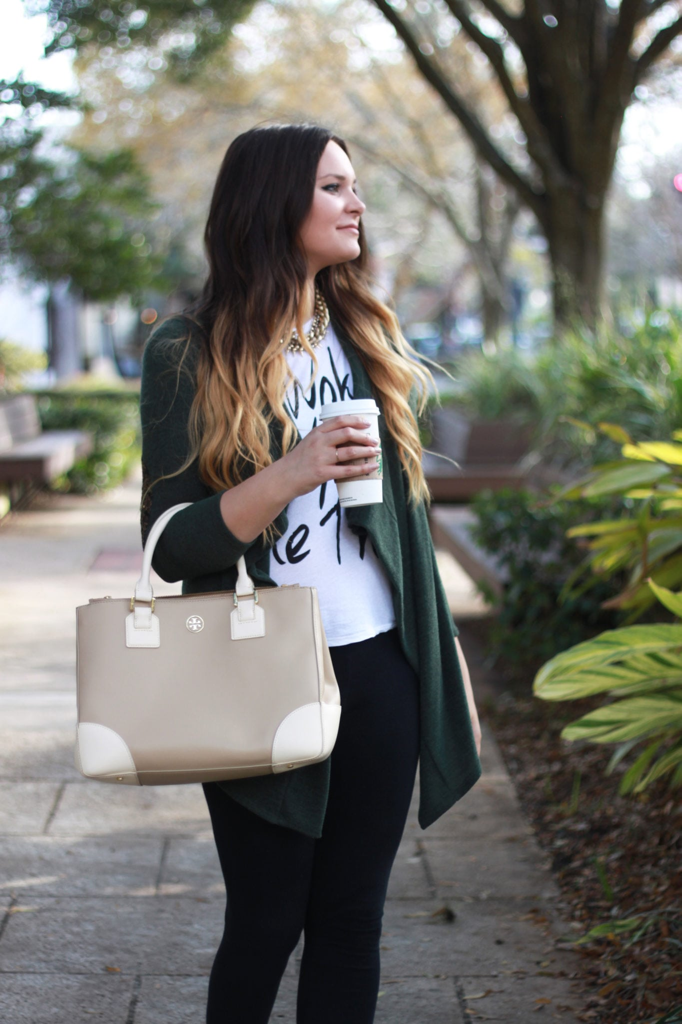 Easy everyday fall outfit   booties   leggings   green cardigan   outfit for fall   Mash Elle beauty blogger   coffee