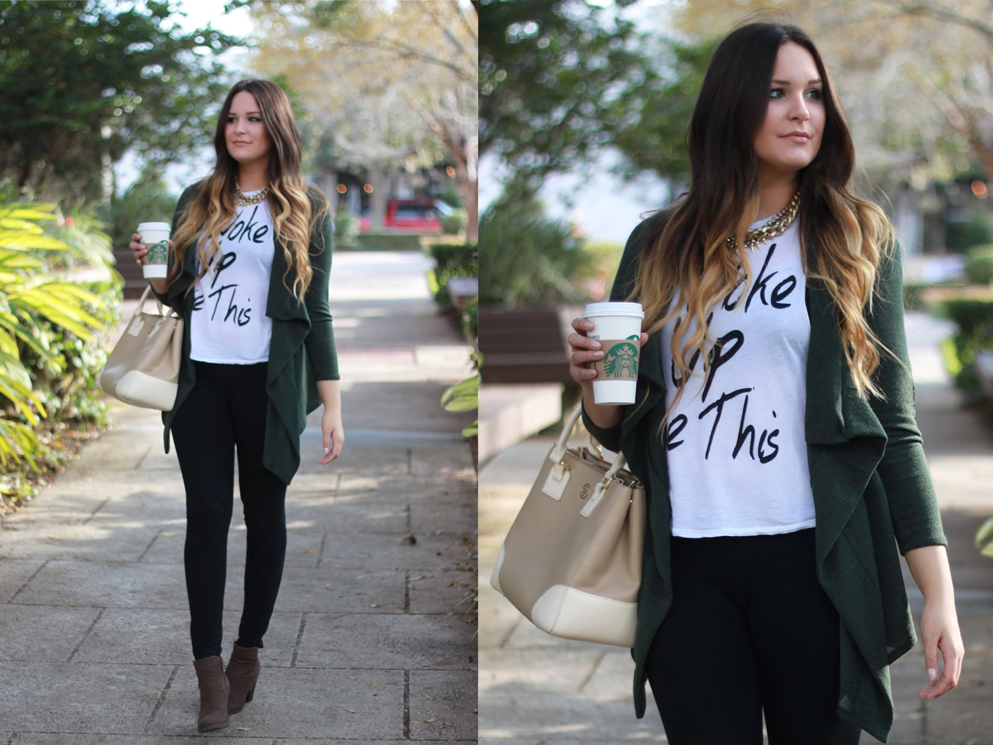 mash-elle-winter-ootd-zelle   Easy everyday fall outfit   booties   leggings   green cardigan   outfit for fall   Mash Elle beauty blogger