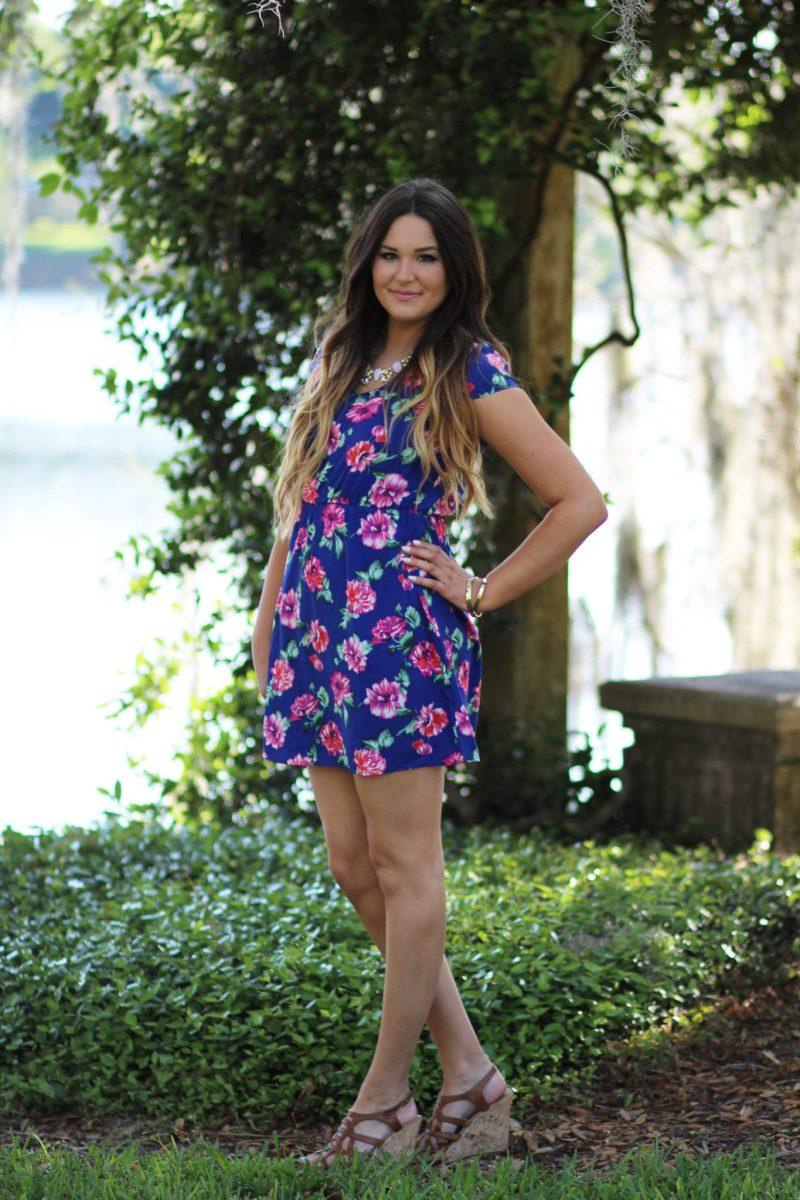 Mash elle beauty blogger | floral dress | floral print dress with wedges | atlanta georgia