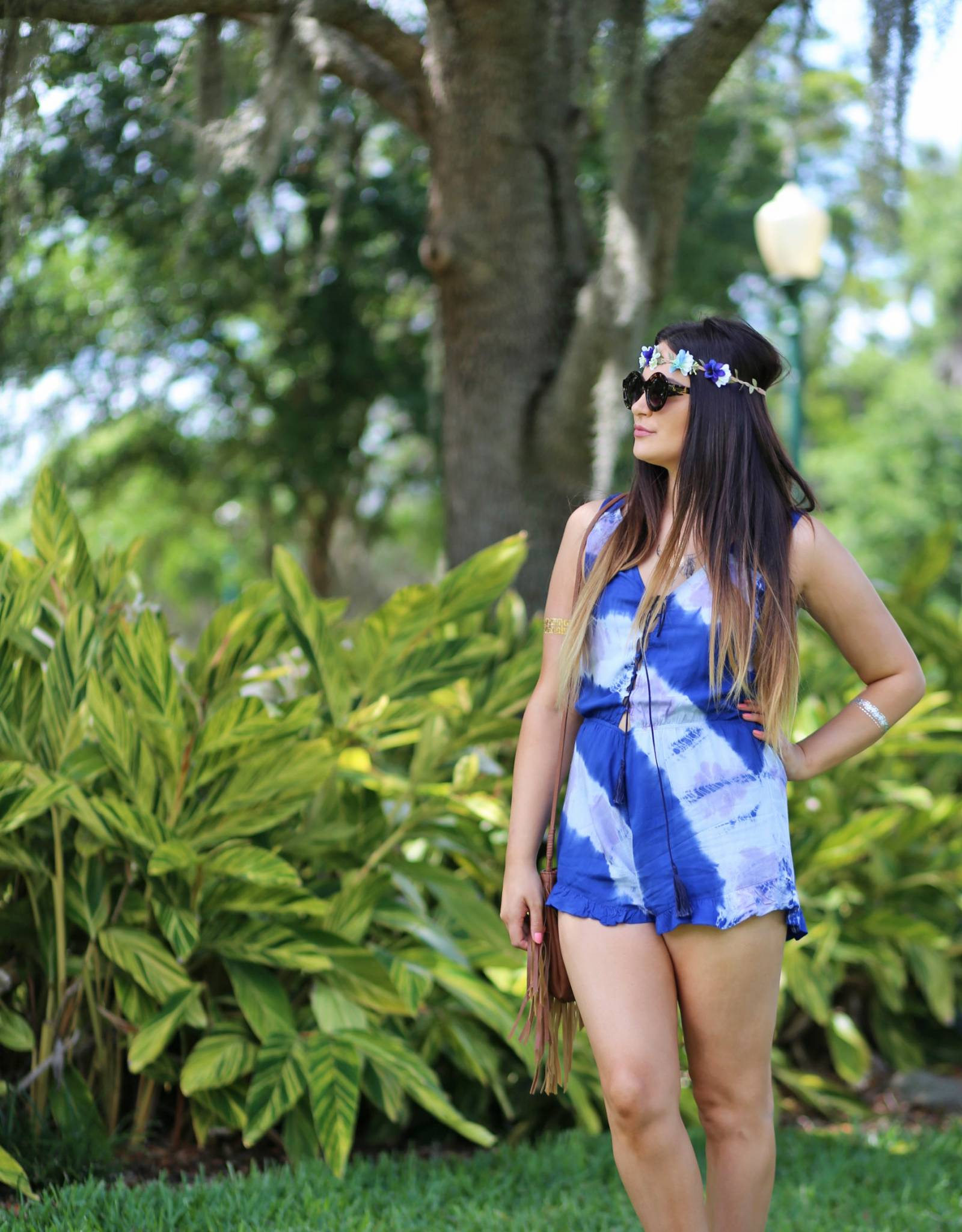 bohemian inspired tie dye romper and floral halo