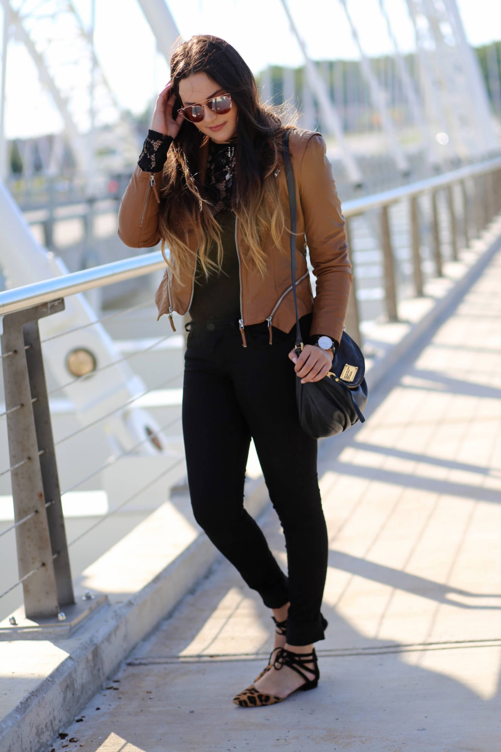 fall fashion blogger Mash Elle casual and affordable fall outfit leather and lace | where to buy the best sunglasses | leather and lace | fall fashion | Mash Elle beauty blogger