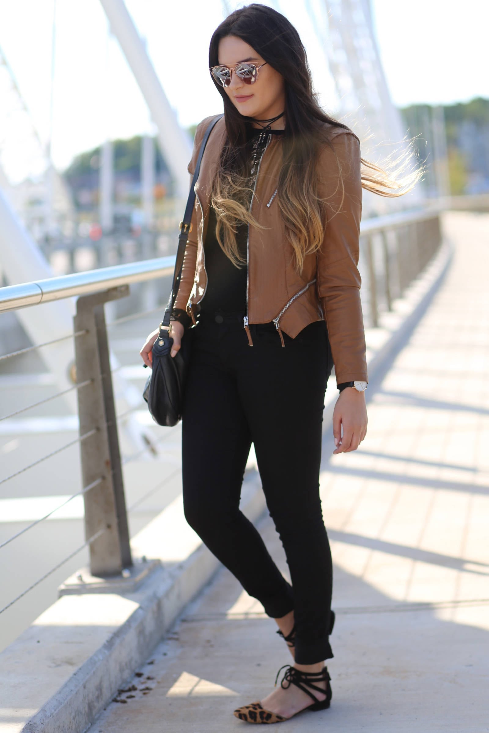 casual and affordable fall outfit leather and lace | where to buy the best sunglasses | leather and lace | fall fashion | Mash Elle beauty blogger