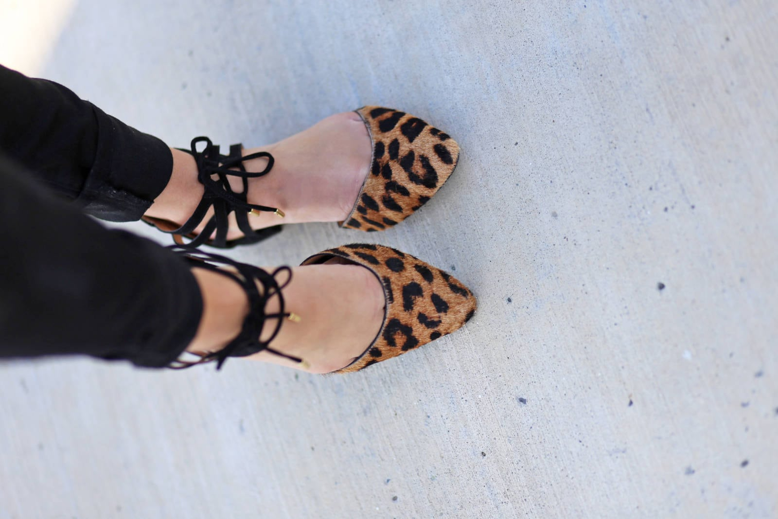 the best leopard tie up flats | where to buy the best sunglasses | leather and lace | fall fashion | Mash Elle beauty blogger