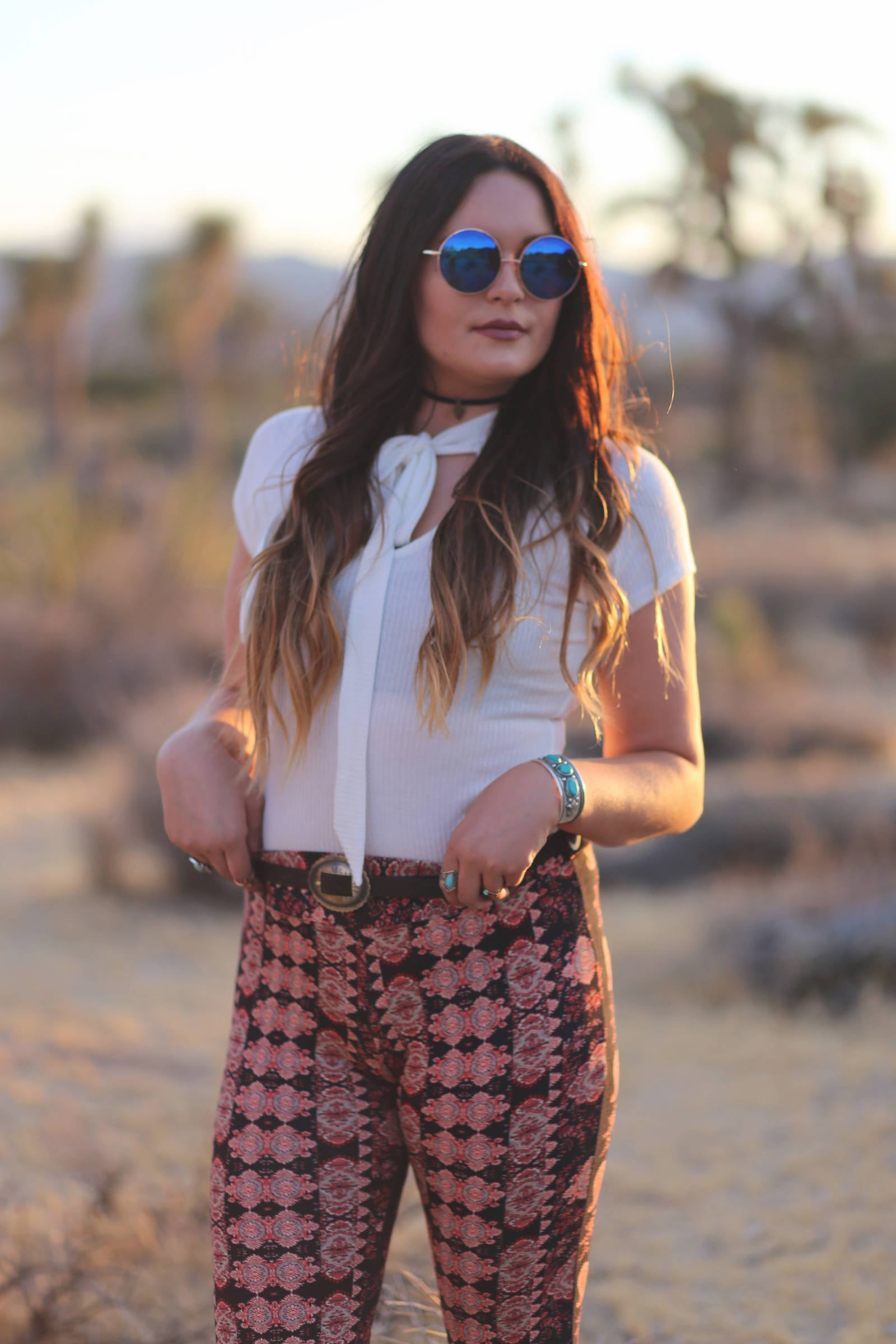 bohemian inspired outfit in joshua tree national park