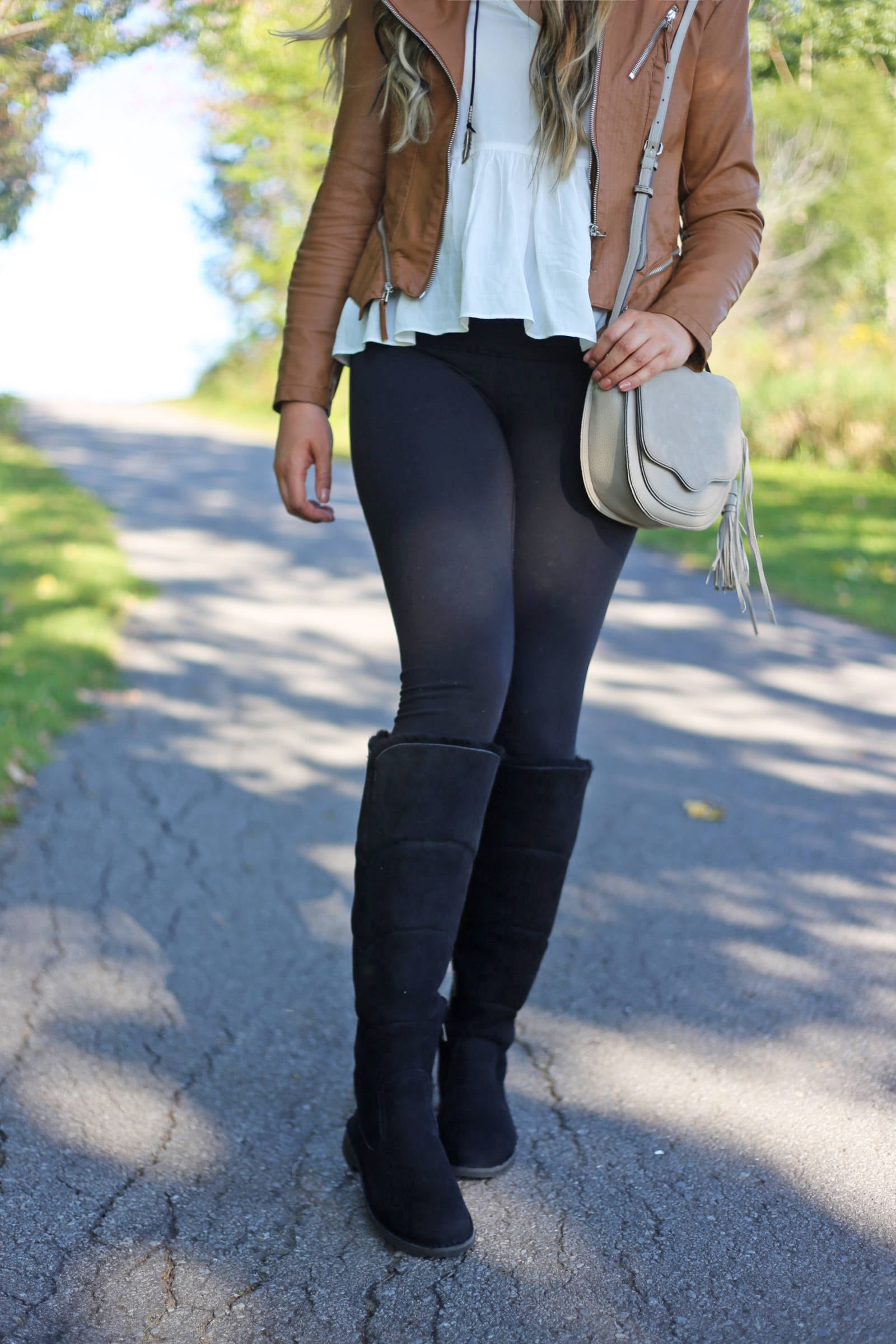 new boots to stay warm this winter | cold weather boots | comfortable boots | Mash Elle beauty blogger | moto jacket faux leather