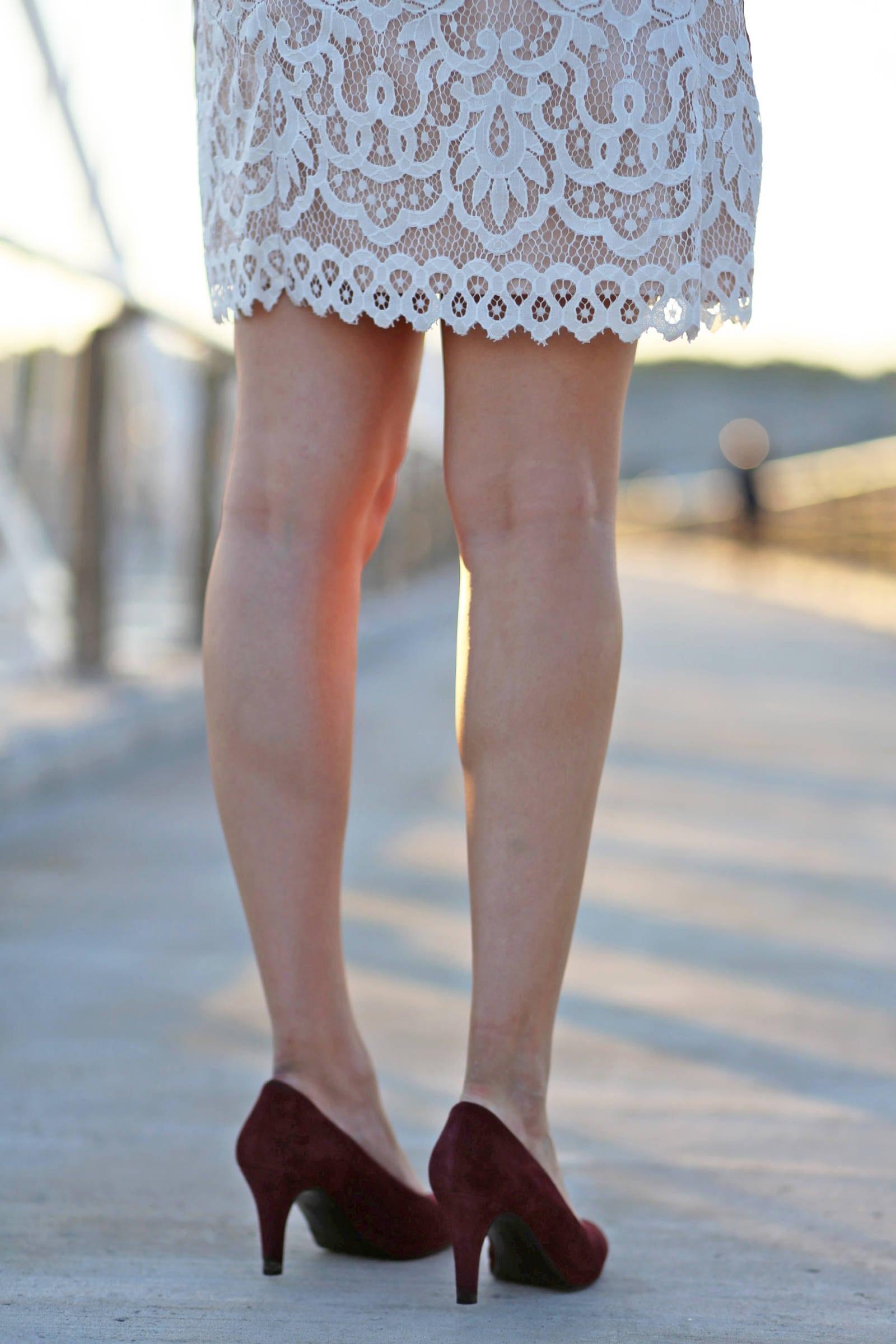 Mash Elle beauty blogger | comfortable heels | fashion | white lace dress
