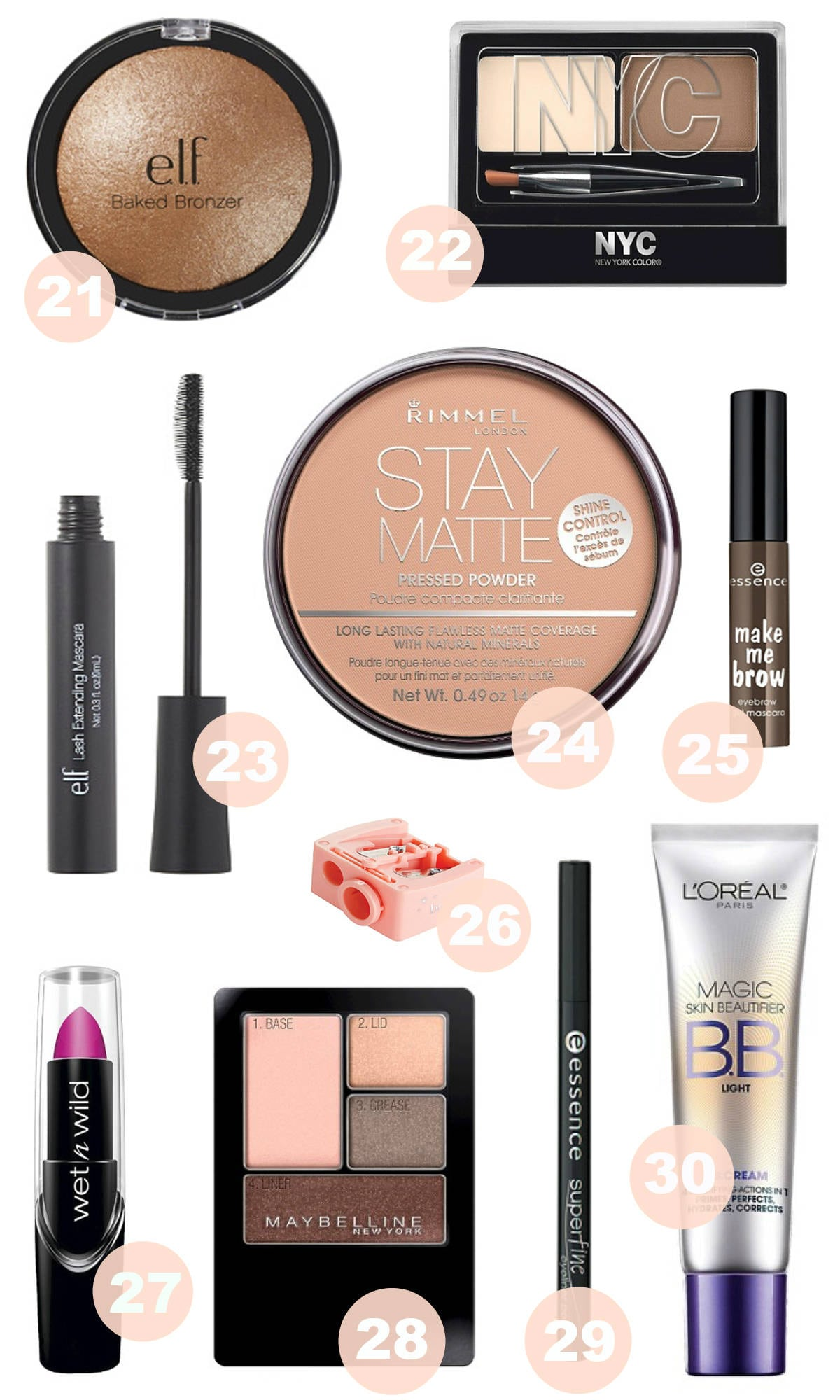 best makeup for less - Best Makeup Products Under $5 by popular Orlando beauty blogger Mash Elle