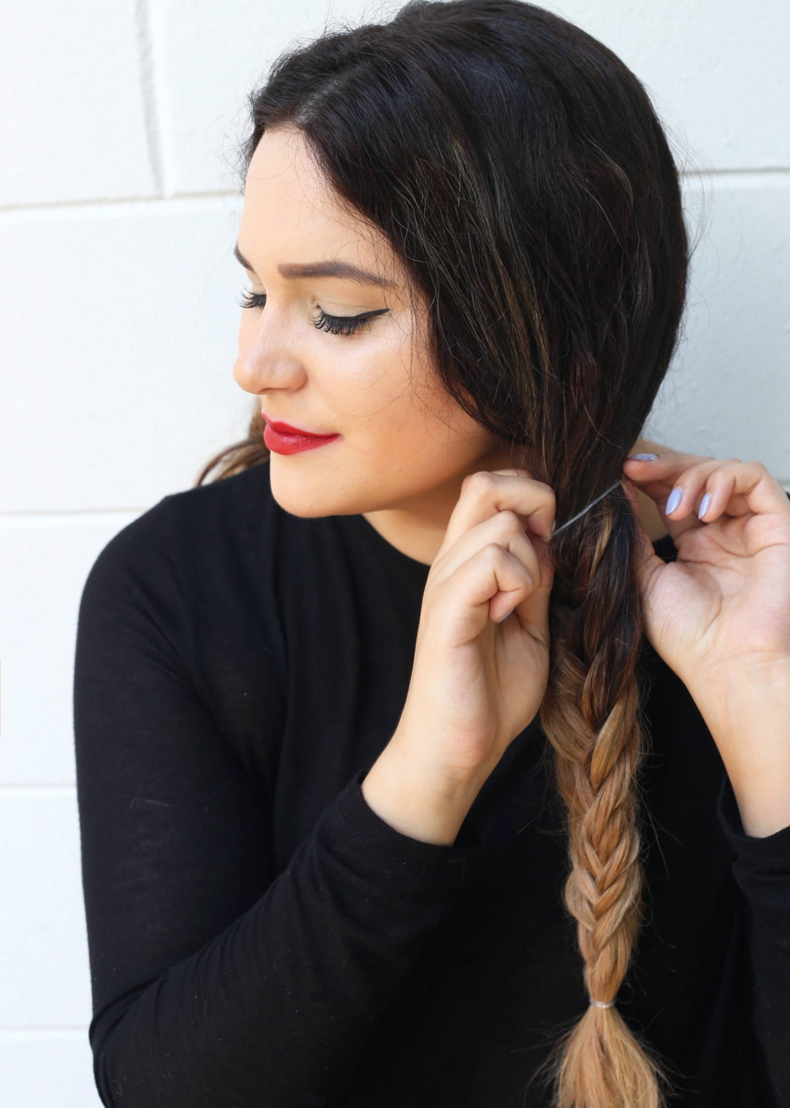 Fashion and beauty blogger Mash Elle shares an easy tutorial fishtail pigtail tutorial for long ombre hair