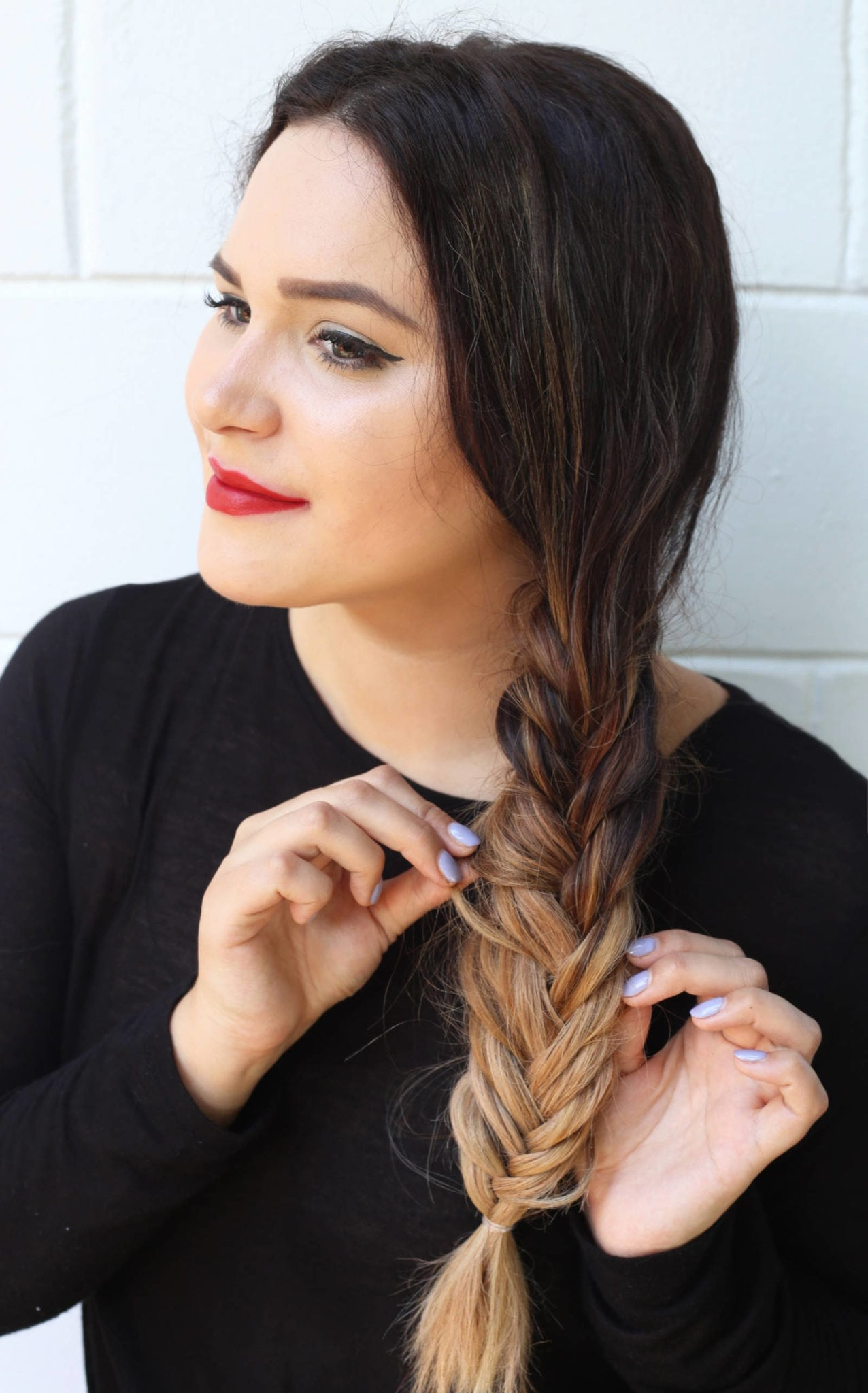 Fashion and beauty blogger Mash Elle shares an easy updo tutorial fishtail pigtail tutorial for long hair