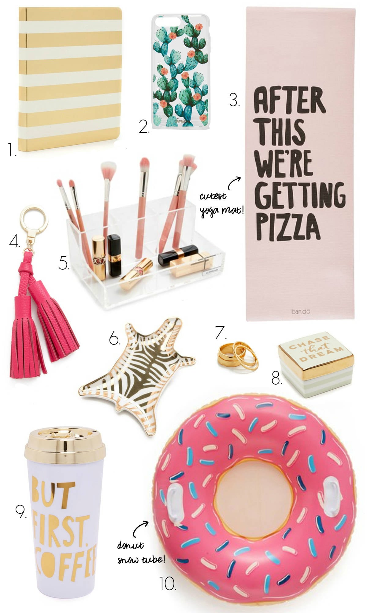 Gifts for your BFF | gifts your girlfriend will love | but first coffee tumbler | after this we're getting pizza yoga mat | makeup organizer | zebra jewelry dish | acrylic makeup organizer | Mash Elle