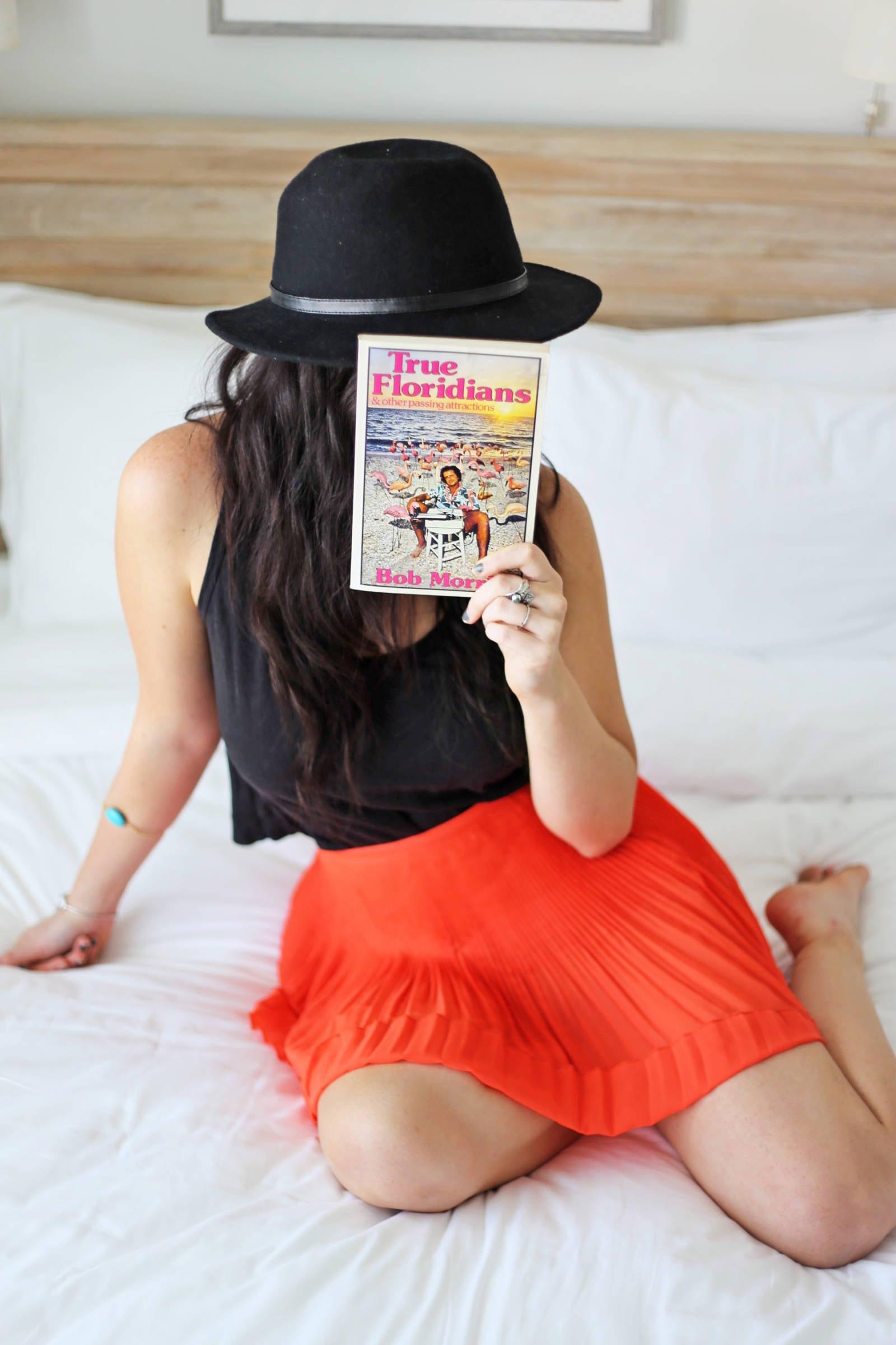 Mash Elle lifestyle blogger | St. pete beach | beauty blogger Mash Elle | black hat | plants | beach house black hat red skirt