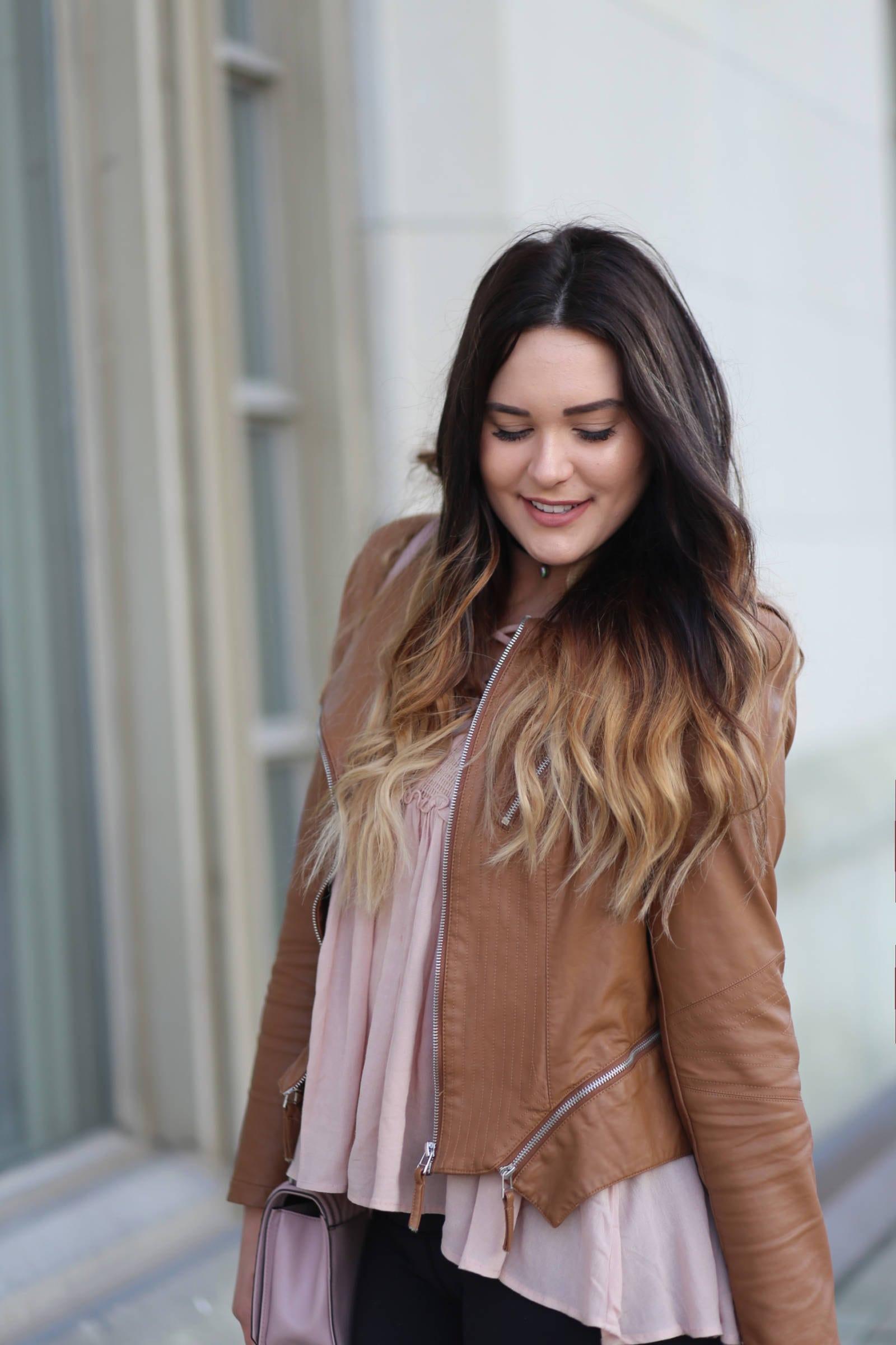 Mash elle faux leather jacket light brown pink shirt outfit | faux leather | beauty blogger Mash Elle