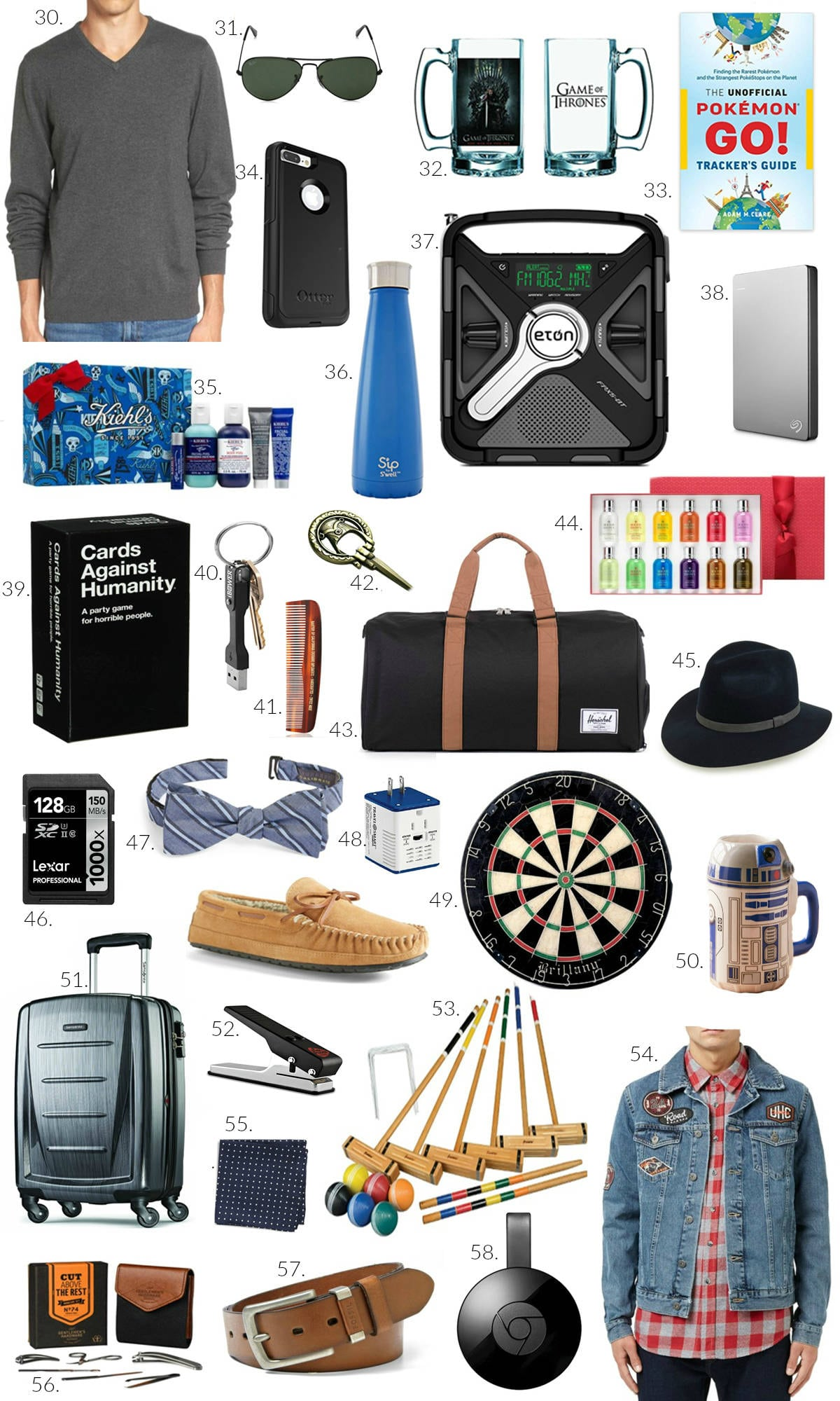 gifts for dad | gifts for brother | gifts for uncle | presents for grandpa | dart board, bow tie, luggage, pokemon go, aviator sunglasses, cards against humanity