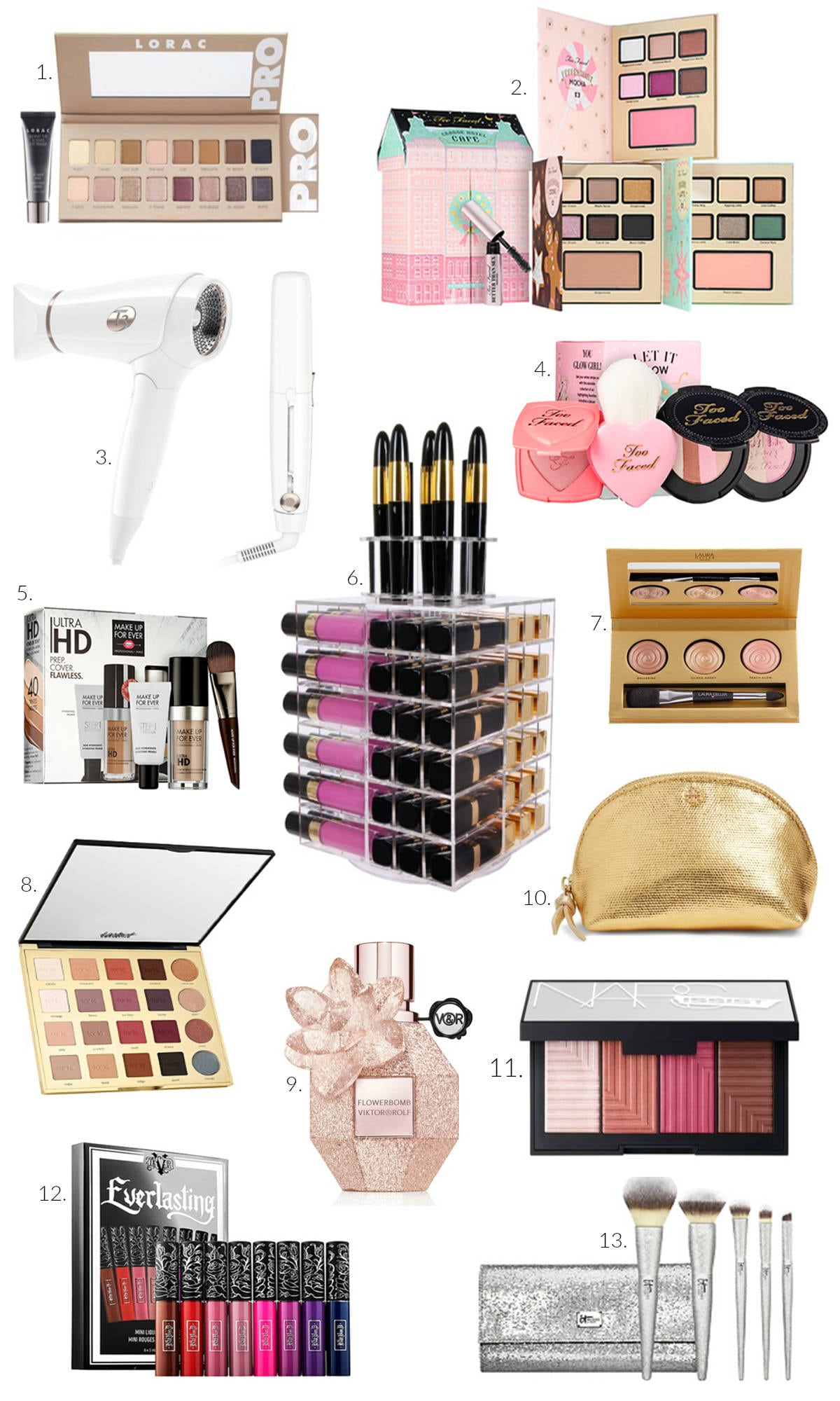 best affordable Christmas gifts for the beauty lover | makeup organizer | best curling wand and hairdryer | blush palette | best perfume for mom | contour palette | cheap stocking stuffers