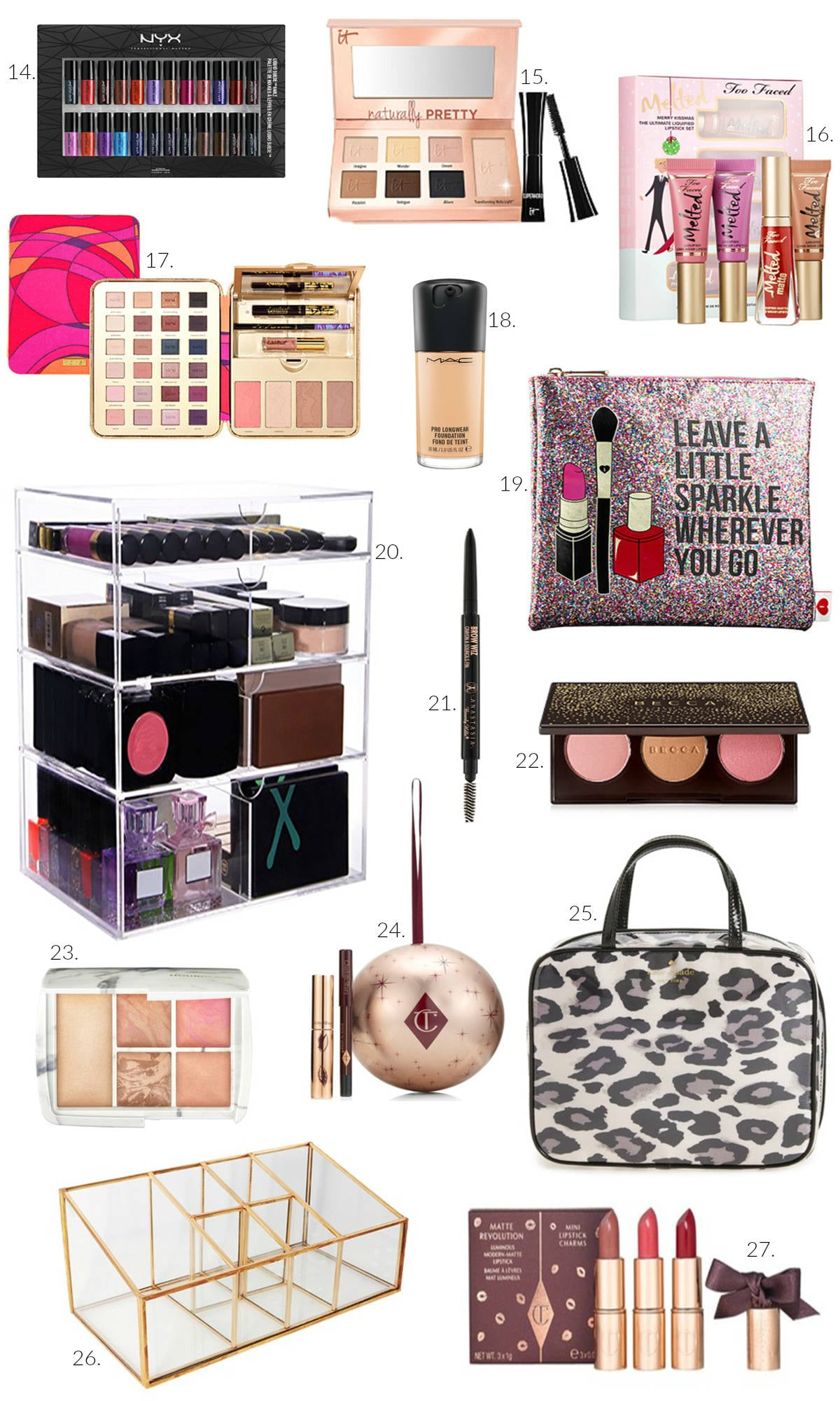 Best beauty and makeup gifts for her | makeup organizer | contour palette | best foundation | makeup travel bag | liquid lipstick | unique gifts for her