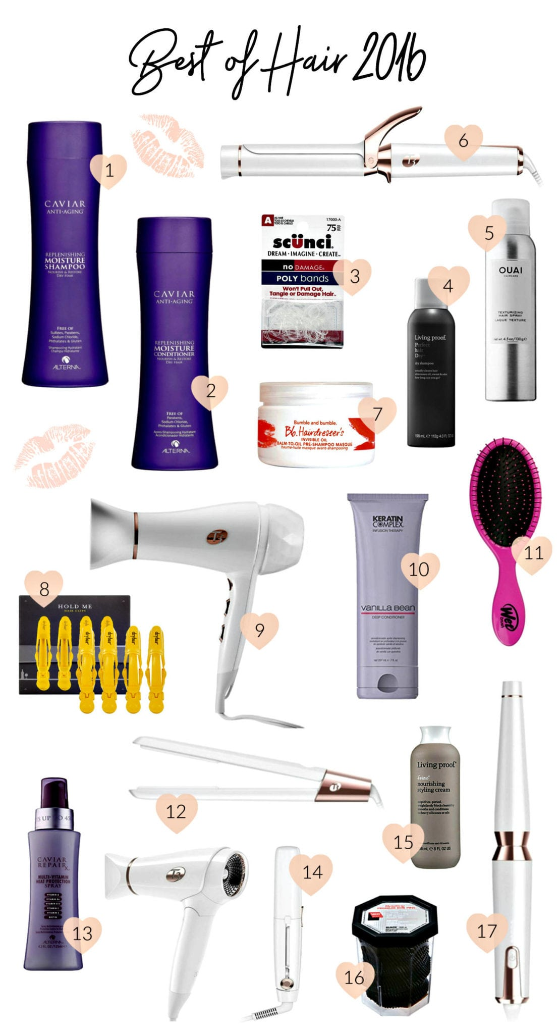 Beauty blogger Mash Elle shares her Ride or Die Best of Hair 2016 including the best T3 hairdryer, curling wand, curling iron, Caviar shampoo and conditioner, Ouai hairspray, Keratin Complex Vanilla Bean leave in conditioner, Dry Bar hair clips, Living Proof dry shampoo, styling cream, bumble and bumble hair mask, scunci elastics and more! - The Best Hair Products featured by popular Orlando beauty blogger, Mash Elle.