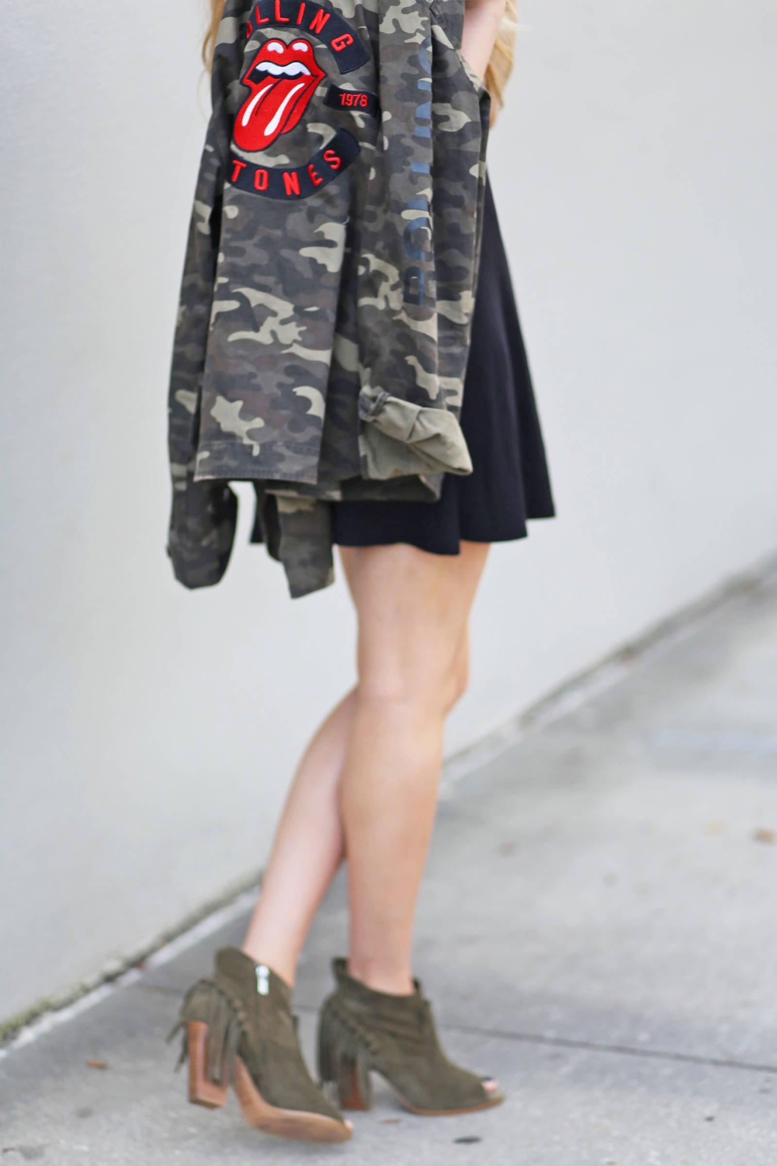 LBD edgy rock and roll vibe | Little black dress | Mash elle beauty blogger | Rolling Stones Camo jacket