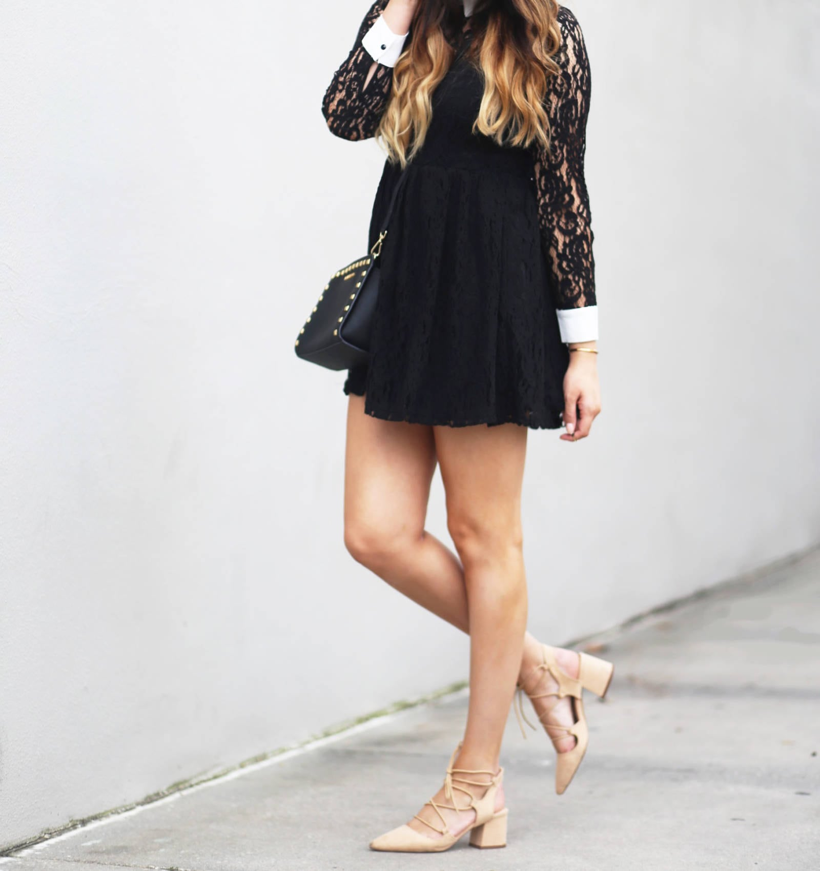What to wear on Valentine's Day for a day date. An affordable black lace dress with white collar from Forever 21.