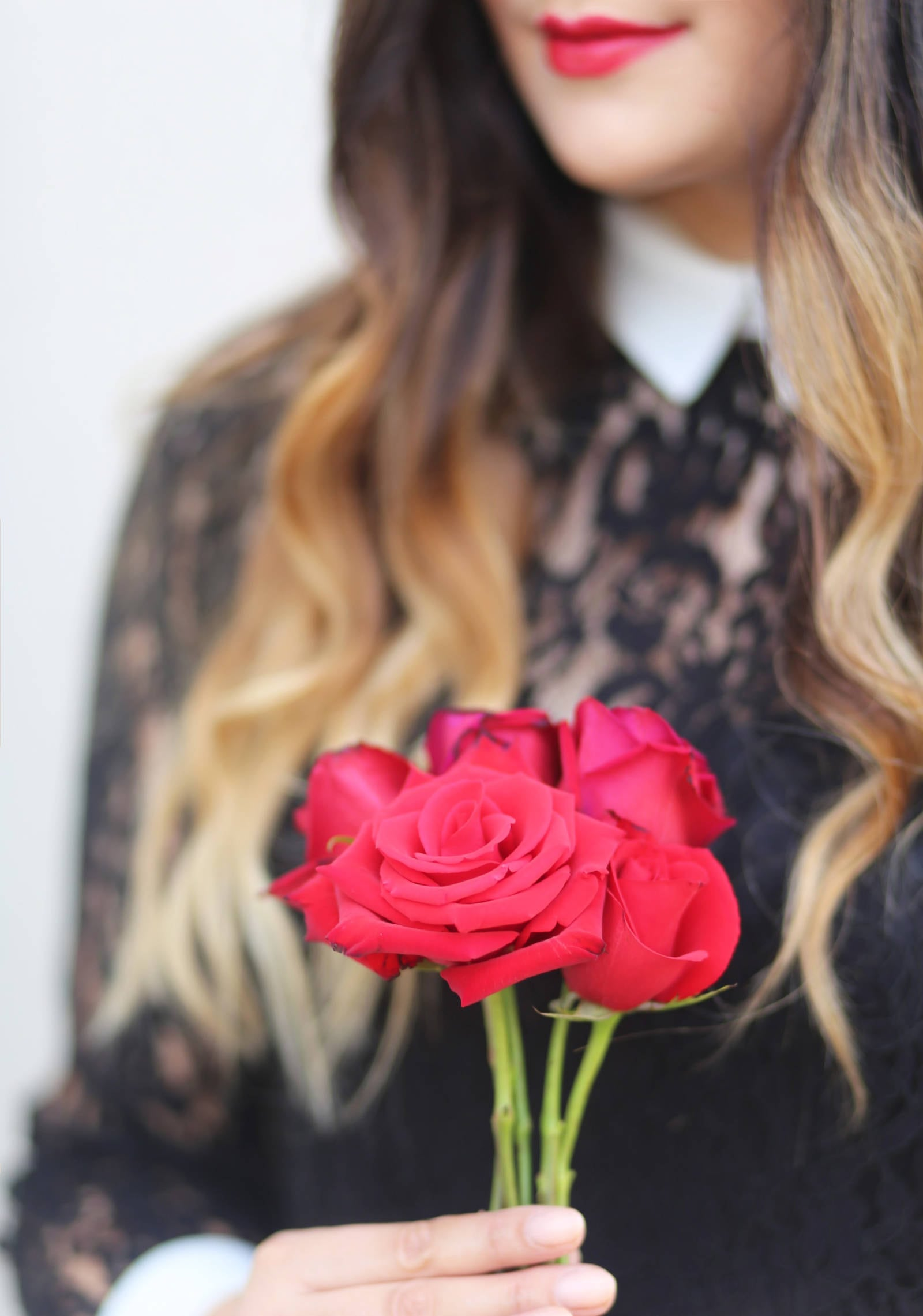 Details of Forever 21 black lace dress for a Valentine's Day look.