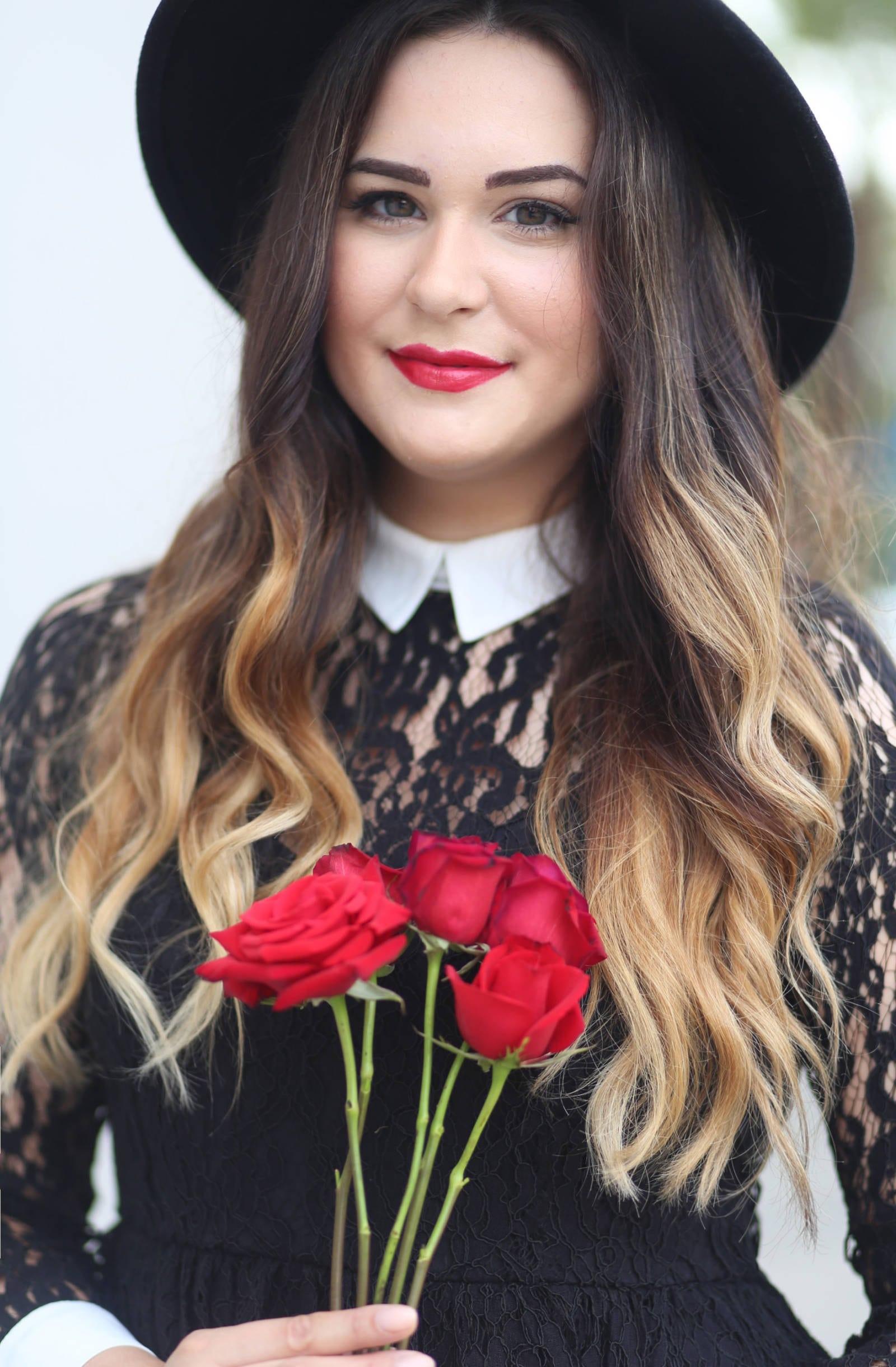 Beauty blogger Mash Elle shares a dramatic glam look with a bold lip. Elizabeth Arden Valentines lipstick, MAC Pro Longwear foundation and concealer, NARS Laguna bronzer, Diorshow mascara