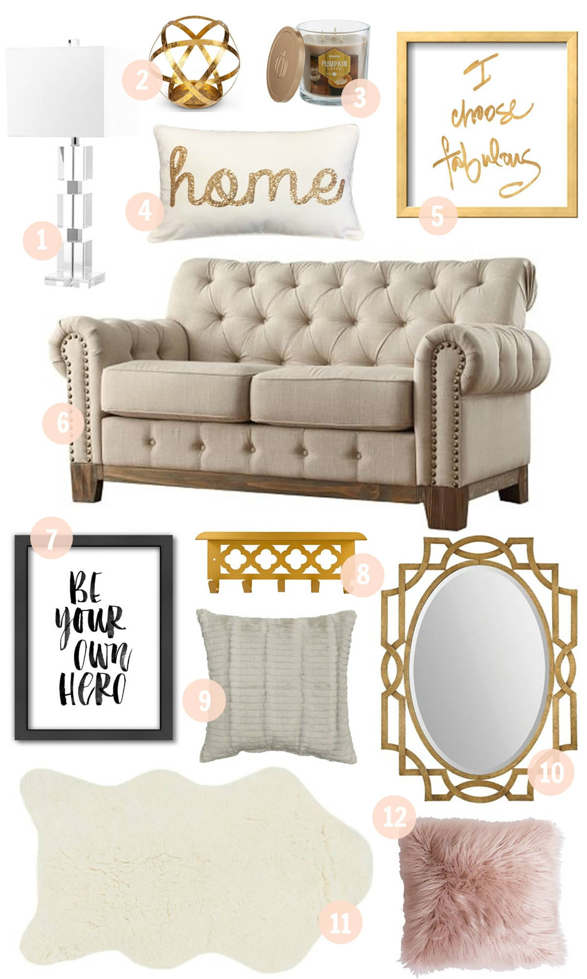 Blogger Mash Elle shares gold, white, cream and pink blush affordable home decor from Kohls
