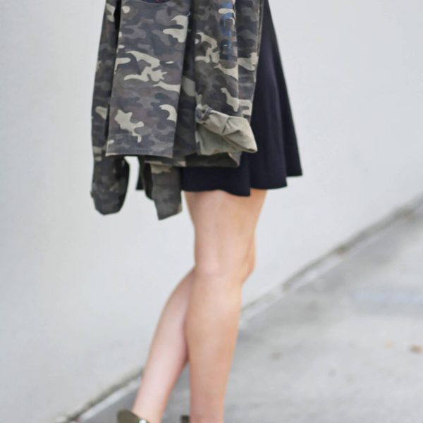 LBD edgy rock and roll vibe Mash elle Rolling Stones Camo jacket