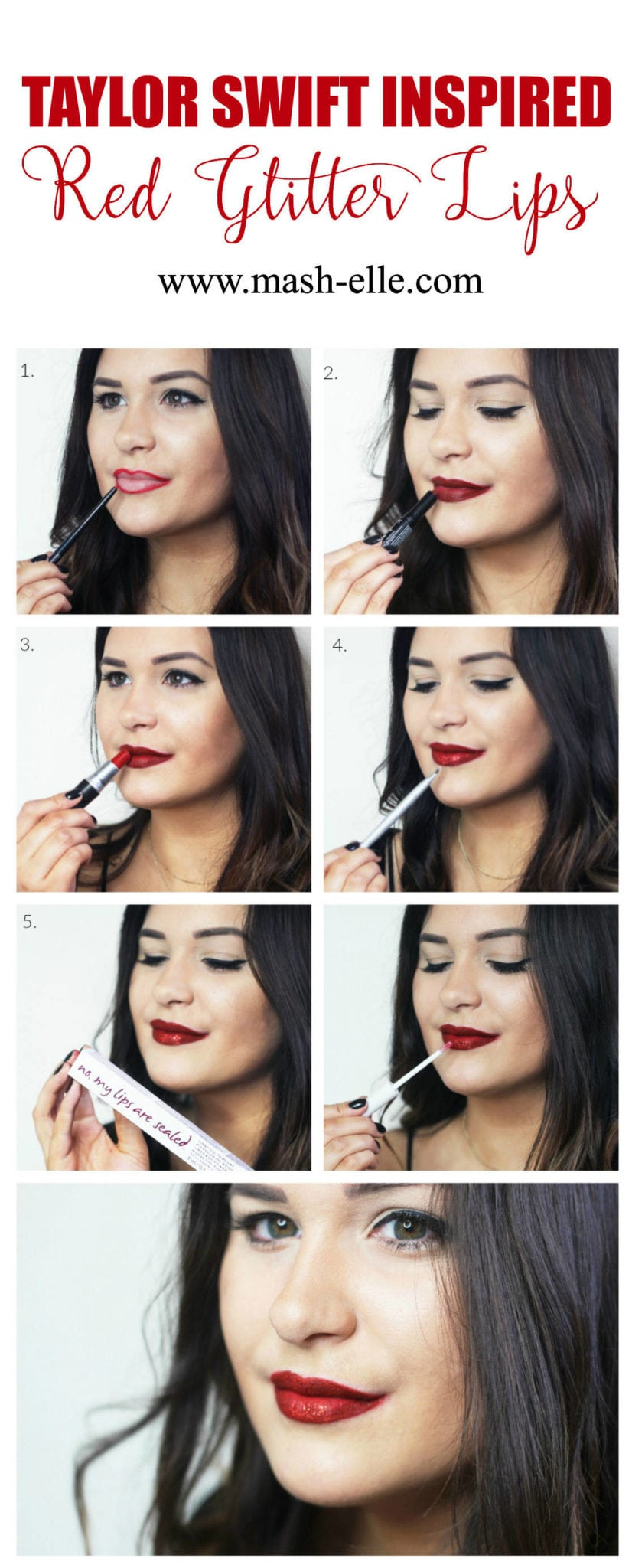 "Beauty blogger Mash Elle re-creates Taylor Swift's infamous red glitter lip from the music video ""I Don't Wanna Live Forever"". This step by step tutorial will help you achieve the perfect red lip! Plus, a lipstick topcoat ""My Lips Are Sealed"" from Know Cosmetics."