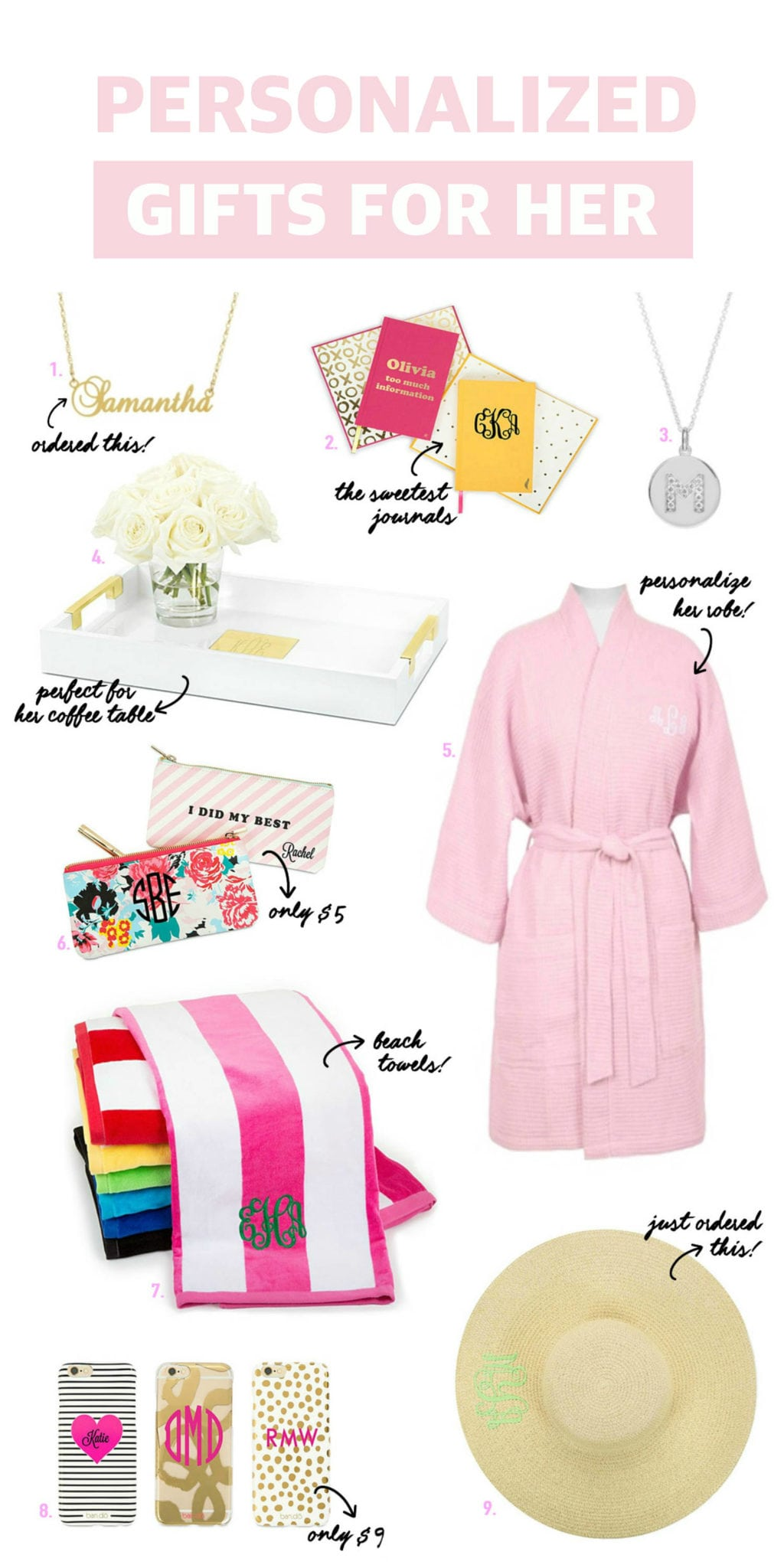 best personalized gifts for her   Mash Elle   monogram hats, bath robes, necklaces, makeup bags, bar cart