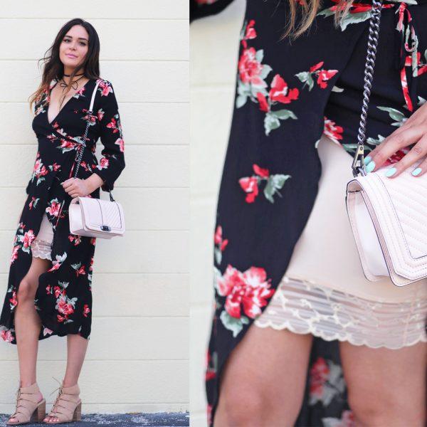Lace dress up outfit Mash elle blogger lace floral wrap dress