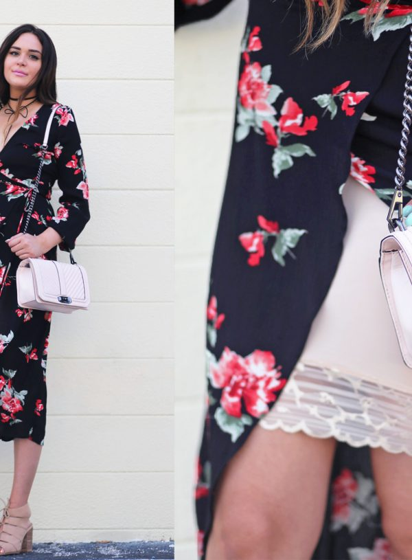 Lace dress up outfit Mash elle blogger lace floral wrap dress