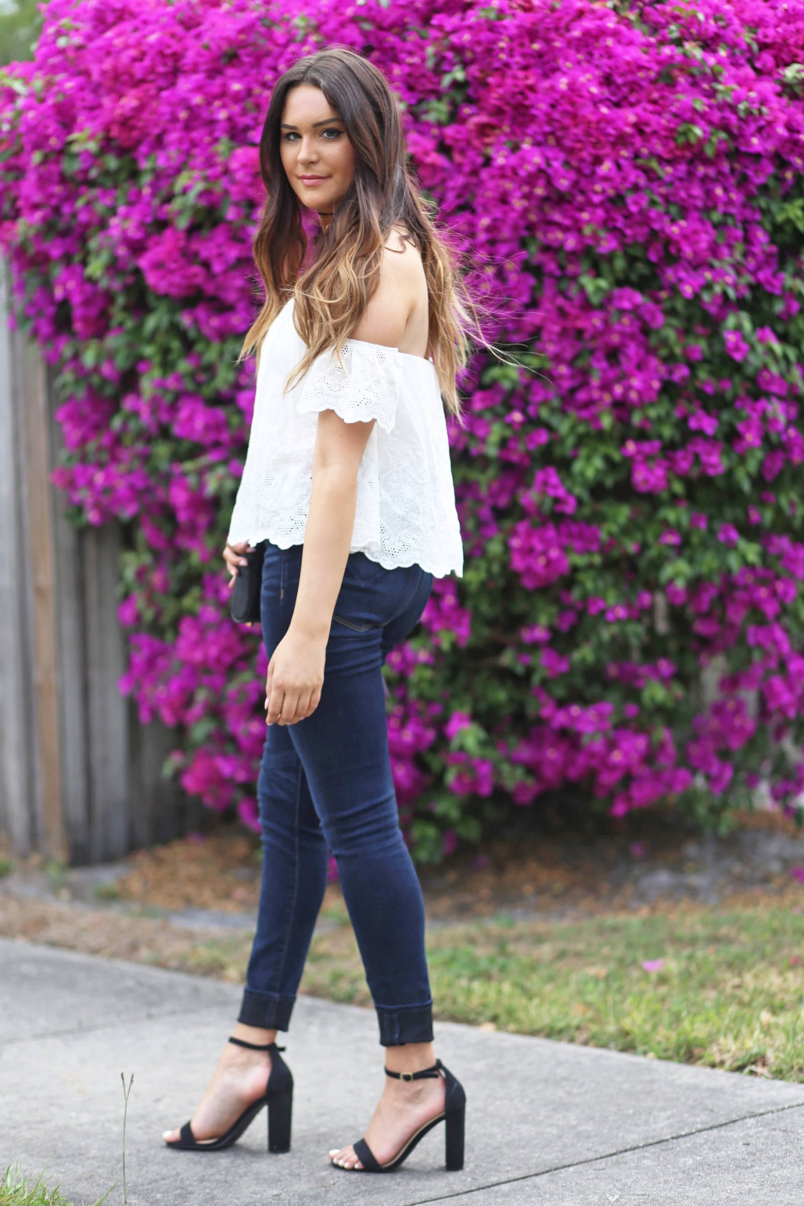 embroidered off the shoulder top | summer outfit | Mash Elle beauty blogger | memorial day outfit | blue jeans | black heels