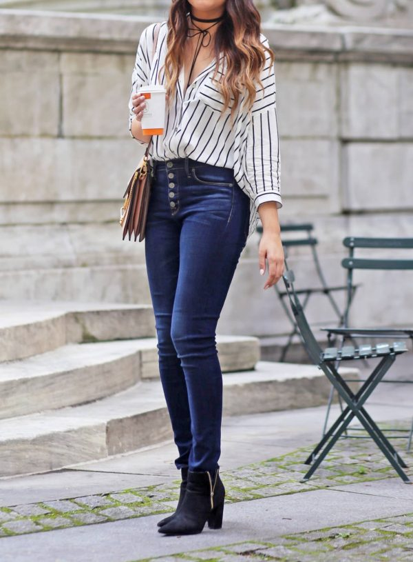 Mash Elle high waisted jeans New York City stripes