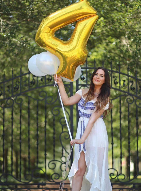Mash elle blogging anniversary gold balloon 4 years