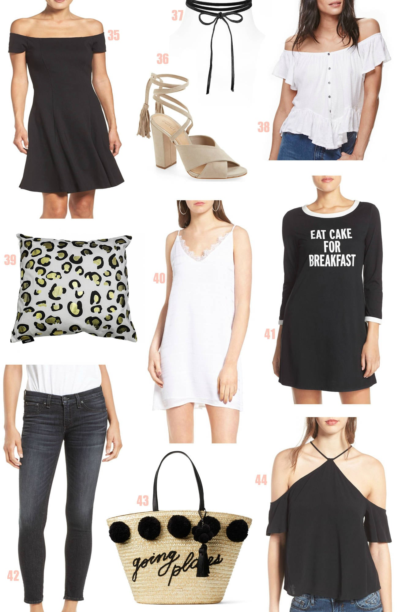Nordstrom half yearly sale |Mash Elle beauty blogger | bell sleeves | jewelry | flats | lace shirt | swimwear off the shoulder dress nude heels choker cake dress woven purse
