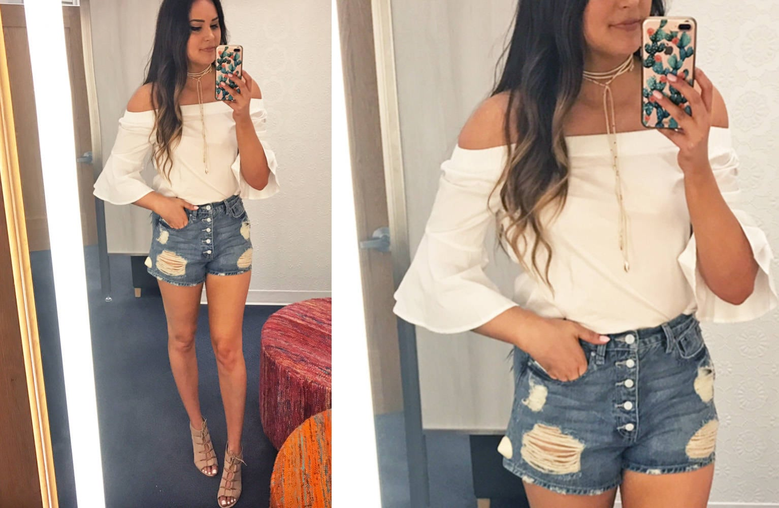 Nordstrom half yearly try on haul | Mash Elle bell sleeves | Nordstrom shopping | Nordstrom Sale | jeans |  bell sleeves white ripped shorts