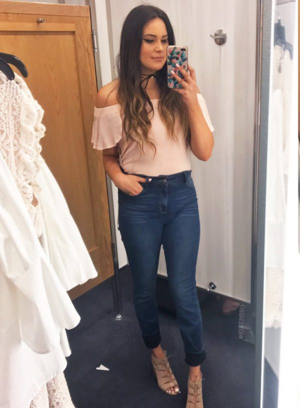 Nordstrom half yearly try on haul Mash Elle bell sleeves jeans pink