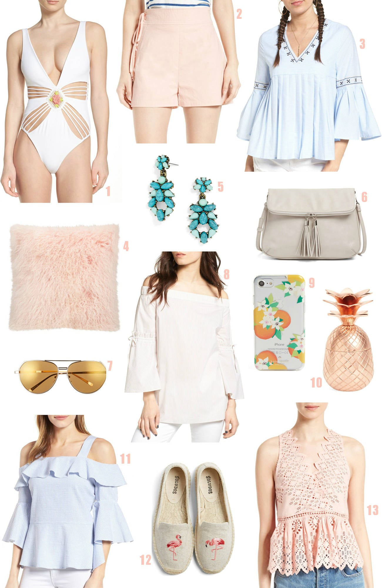 Nordstrom half yearly sale  |Mash Elle beauty blogger | bell sleeves |  pink pillow flamingo | flats | lace shirt | swimwear