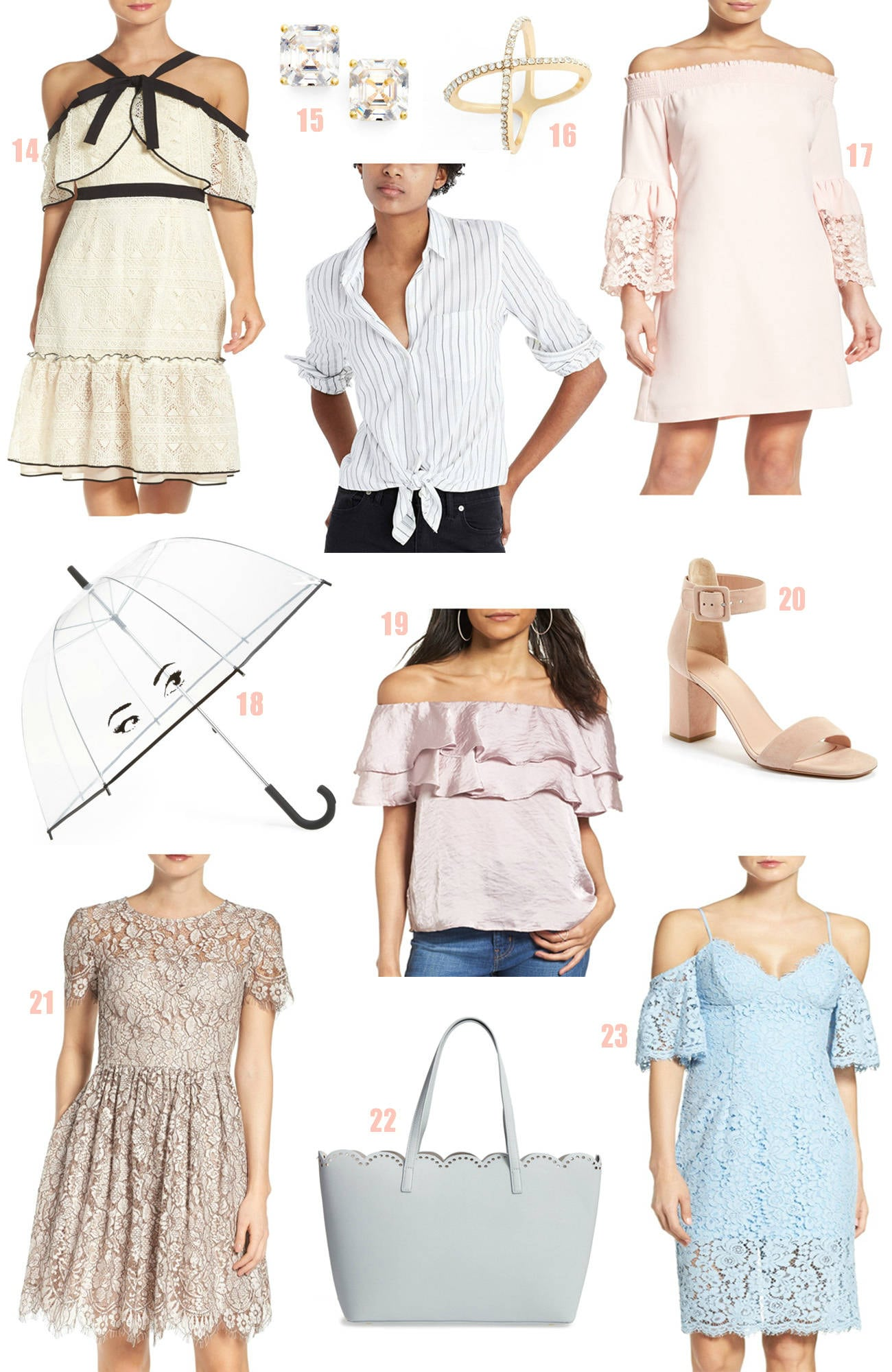 Nordstrom half yearly sale  |Mash Elle beauty blogger | bell sleeves |  jewelry | flats | lace shirt | swimwear