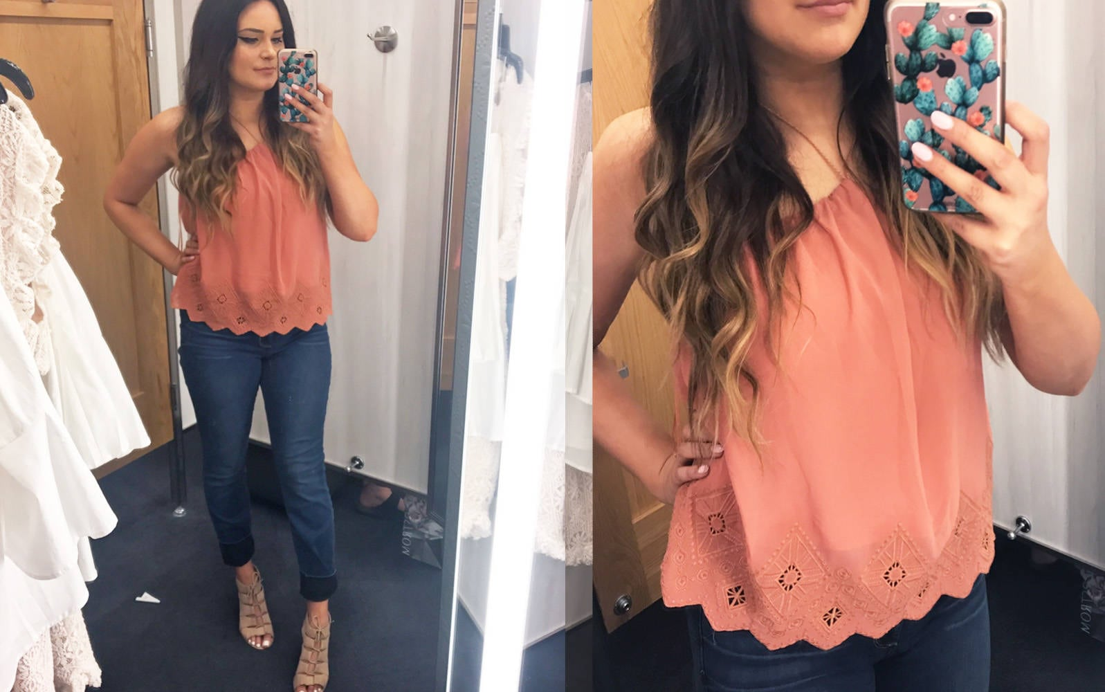 Nordstrom half yearly try on haul | Mash Elle bell sleeves | Nordstrom shopping | Nordstrom Sale | jeans | lace halter tank jeans pink