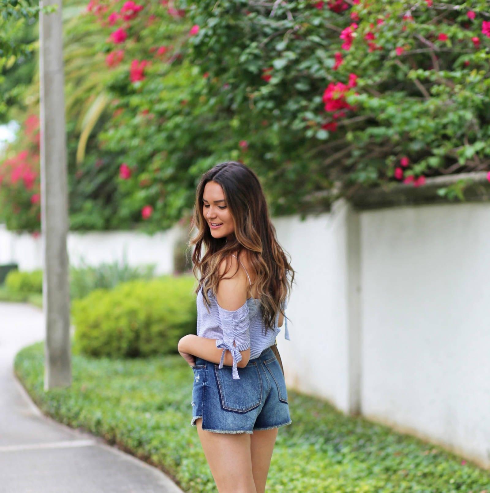 Mash Elle beauty blogger |  off the shoulder top | striped shirt | blush purse |  jean shorts | white mule sandals