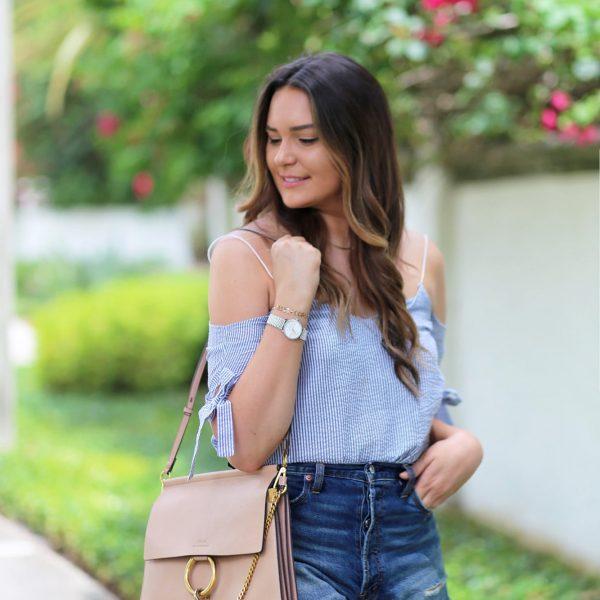 Mash Elle off the shoulder top stripes blush purse shorts sandals