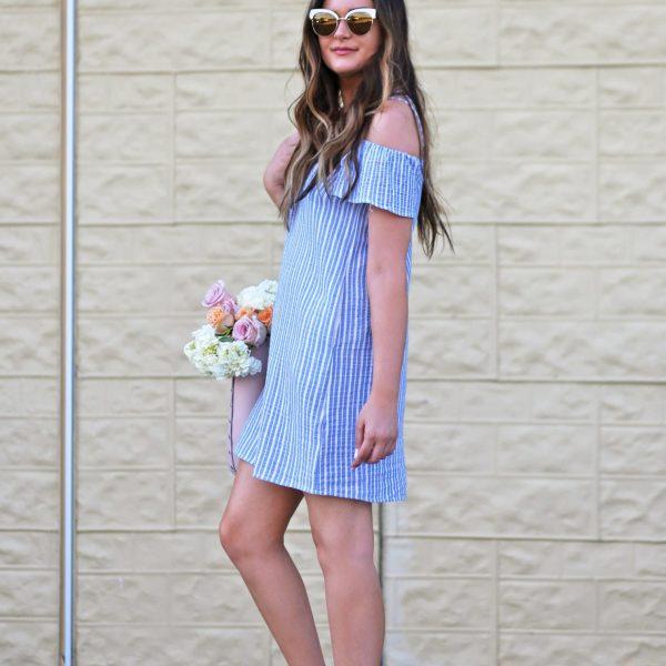 Romantic off the shoulder dress blue white stripes flowers tan heels sunglasses