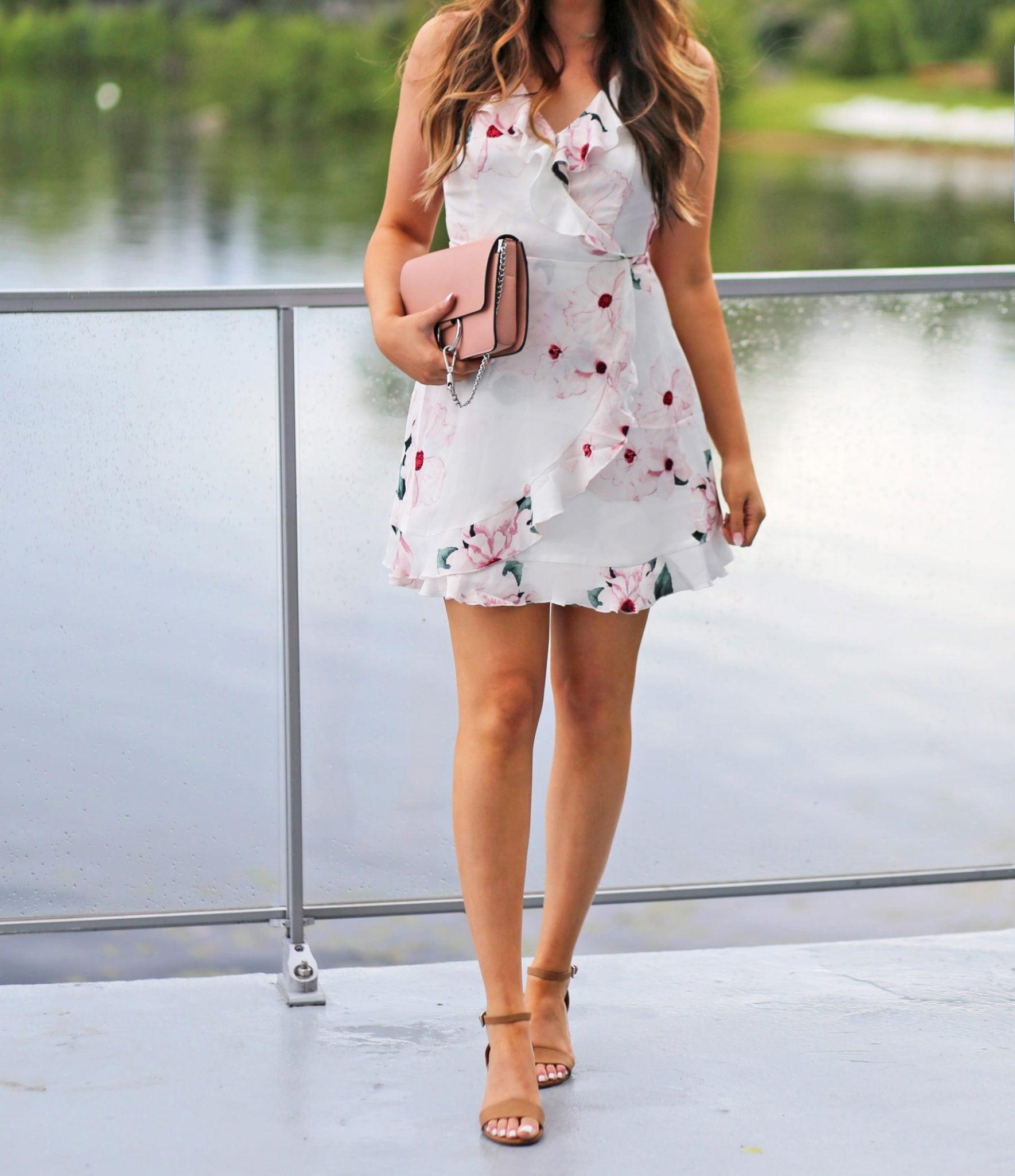 floral ruffle dress   summer outfit   beauty blogger Mash Elle   floral outfit   summer dress   sundress   pool dress   summer party   vacation dress  pink clutch