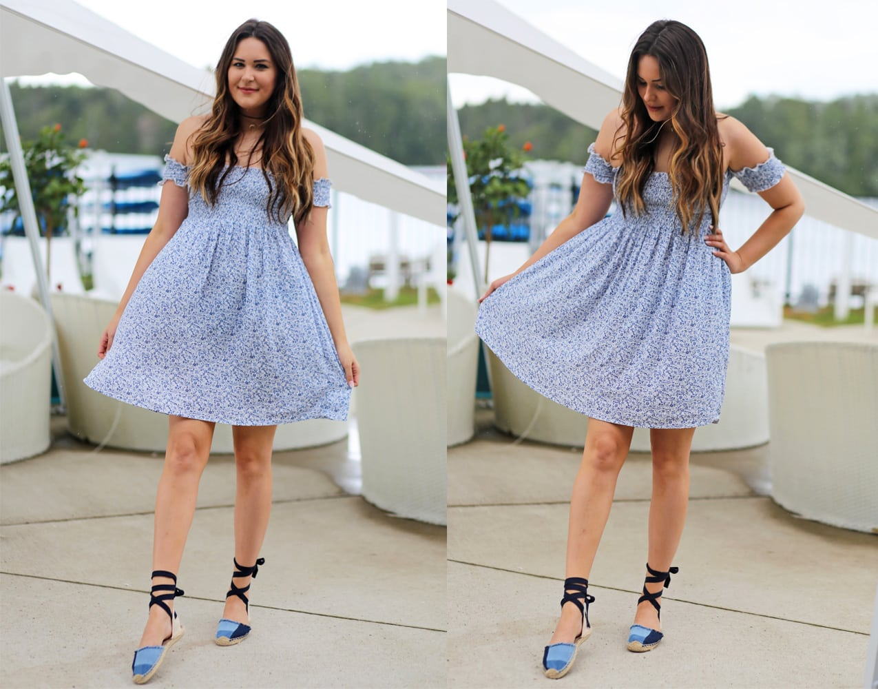 Mash Elle blogger pool blue white floral dress blue shoes summer outfit