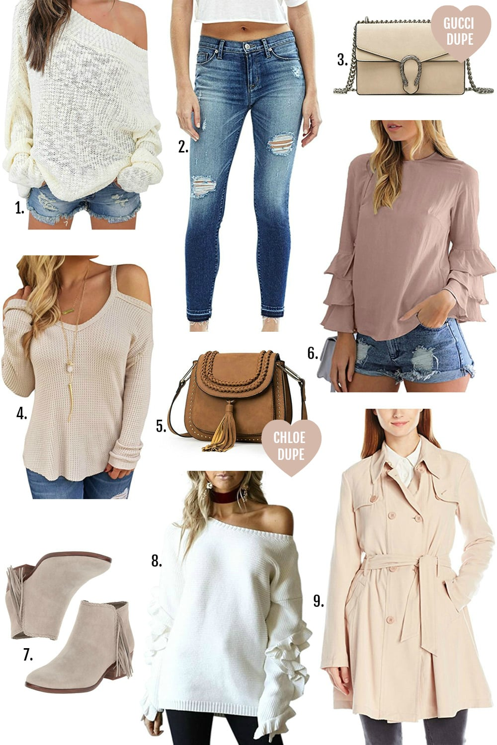 Amazon Fall fashion finds under $100 | Mash Elle fashion blogger | Gucci designer bag dupe | Chloe designer bag dupe | over the knee boots | affordable style for women | flattering trench coat | skinny ripped jeans for less | clothing for curvy girls | designer fashion dupe