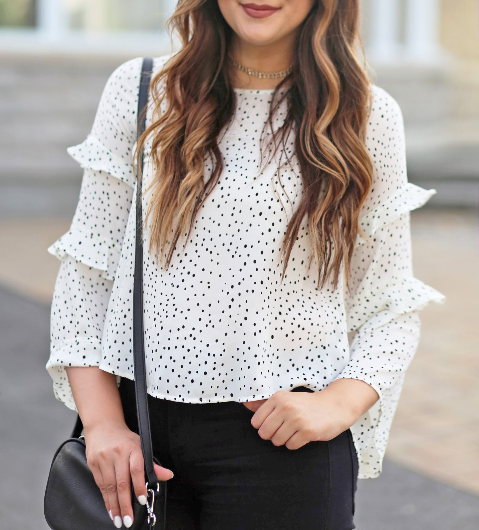 polka dots ruffles | white shirt outfit | beauty blogger Mash Elle | polka dots | black ripped jeans | white nails