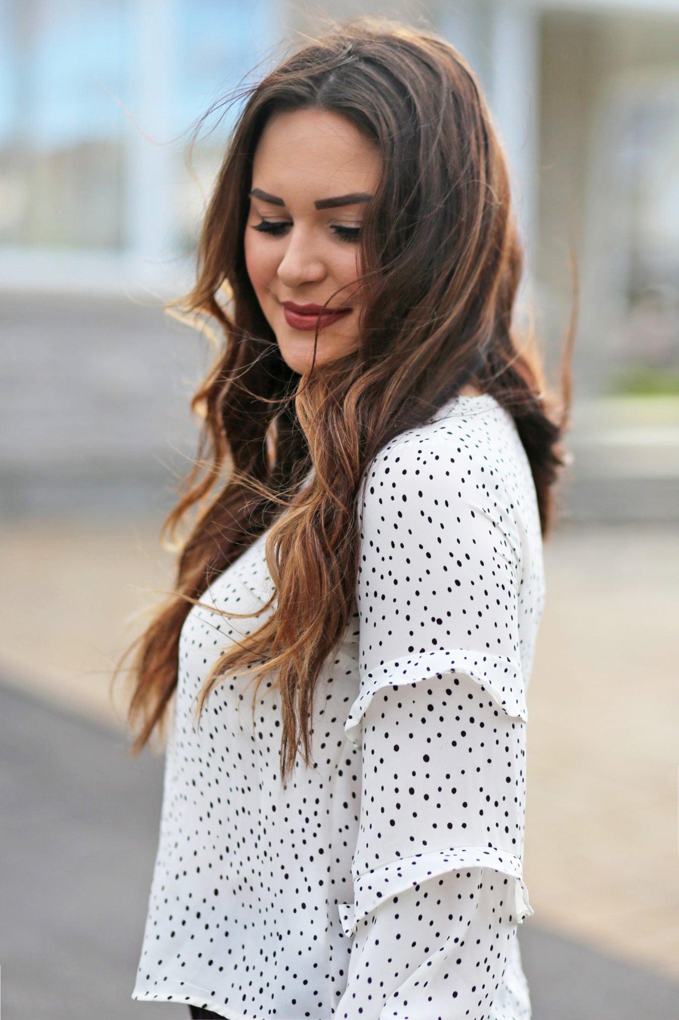 polka dots ruffles | white shirt outfit | beauty blogger Mash Elle | polka dots |