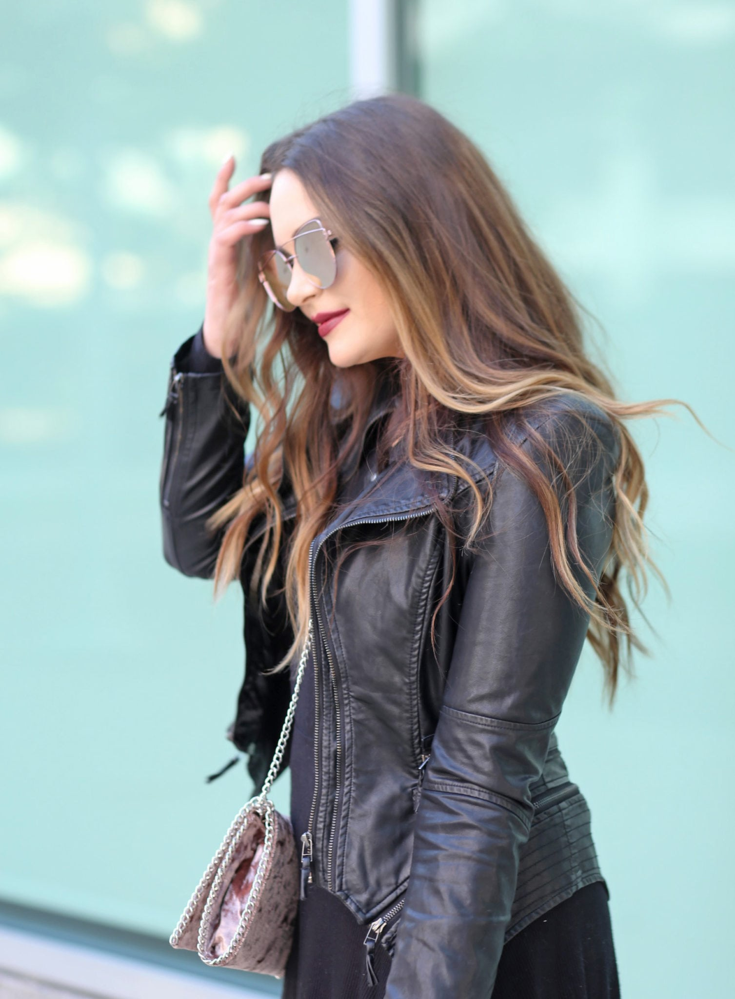 how to style a dress for Fall   Mash Elle beauty blogger   aviator sunglasses   leather jacket