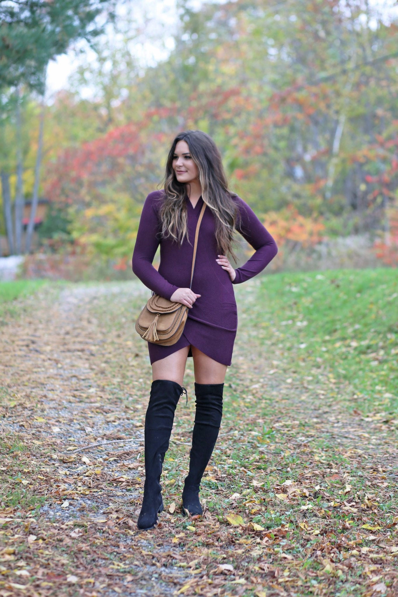 how to wear a bodycon dress | dresses for fall | affordable fall fashion Mash Elle | dresses for tall women | balayage hair